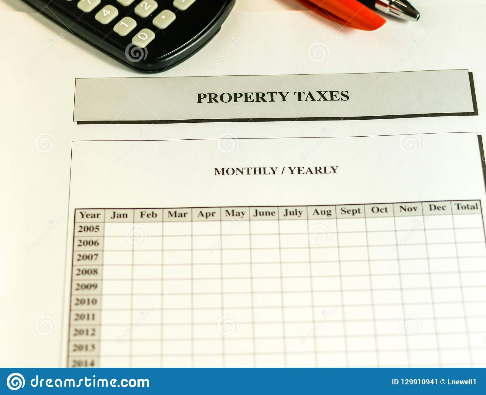Property Taxes Monthly Yearly Worksheet Stock Image