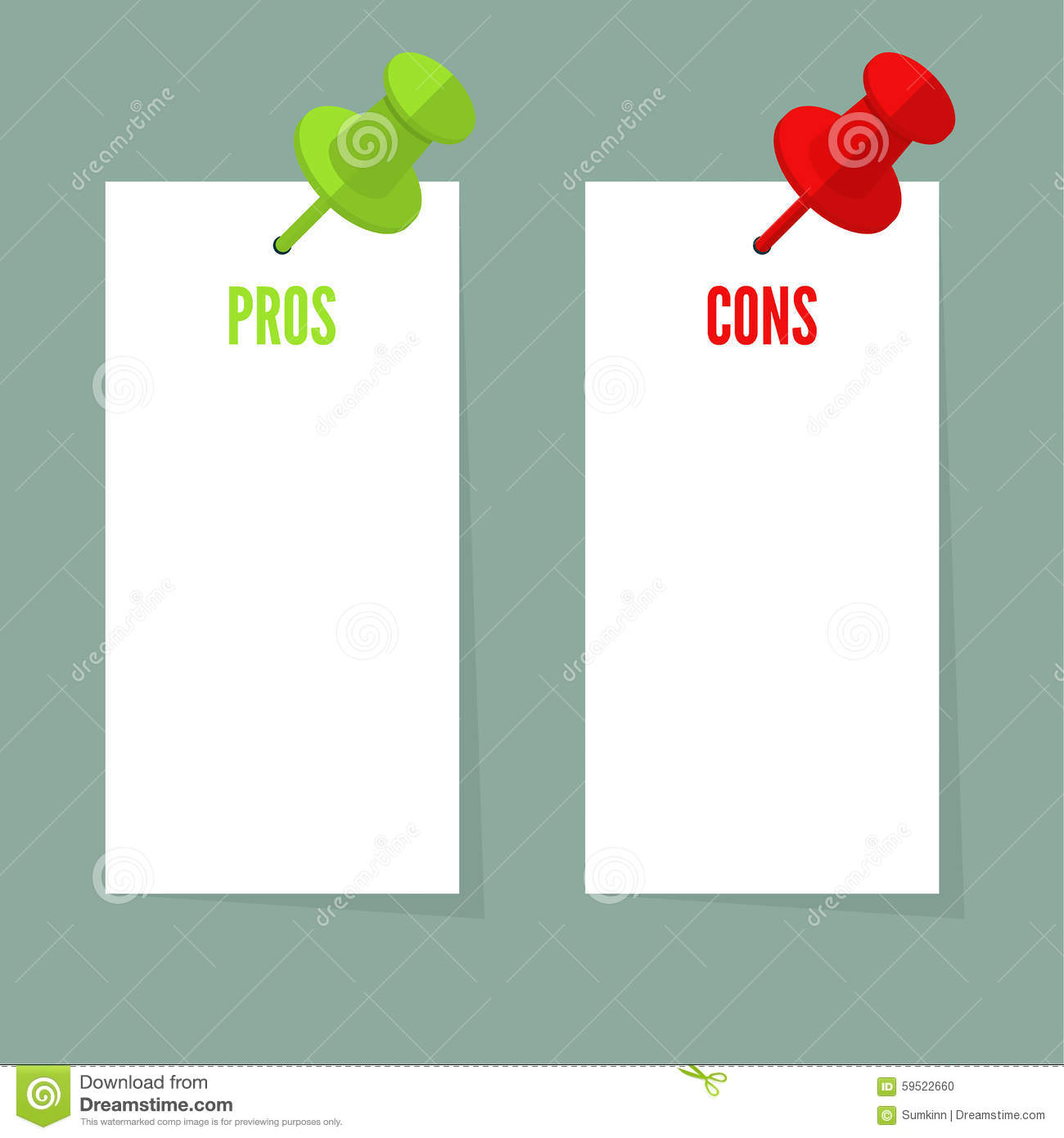 Pros And Cons List Stock Vector Illustration Of Plus