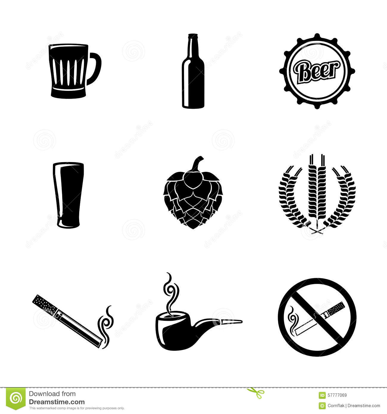 Pub And Beer Icons Set With