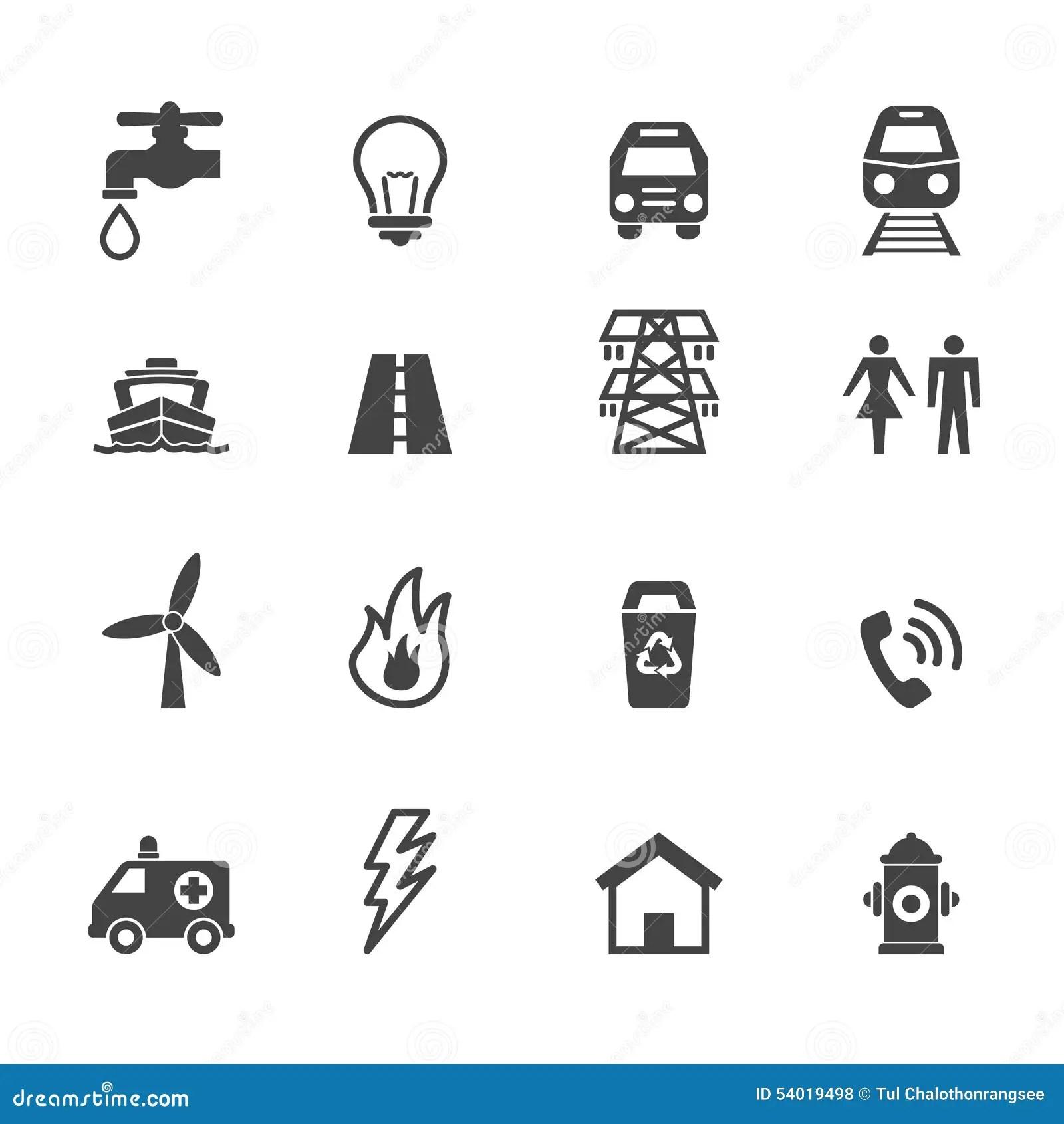 Public Utility Icons Stock Vector Image Of Ambulance