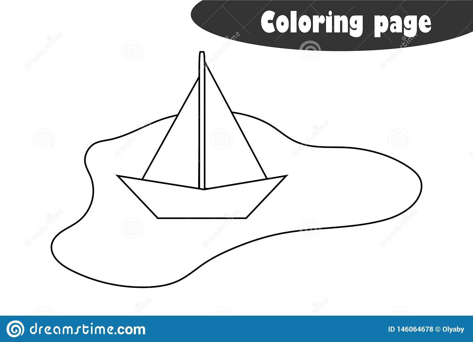 Puddle With A Paper Boat In Cartoon Style Coloring Page