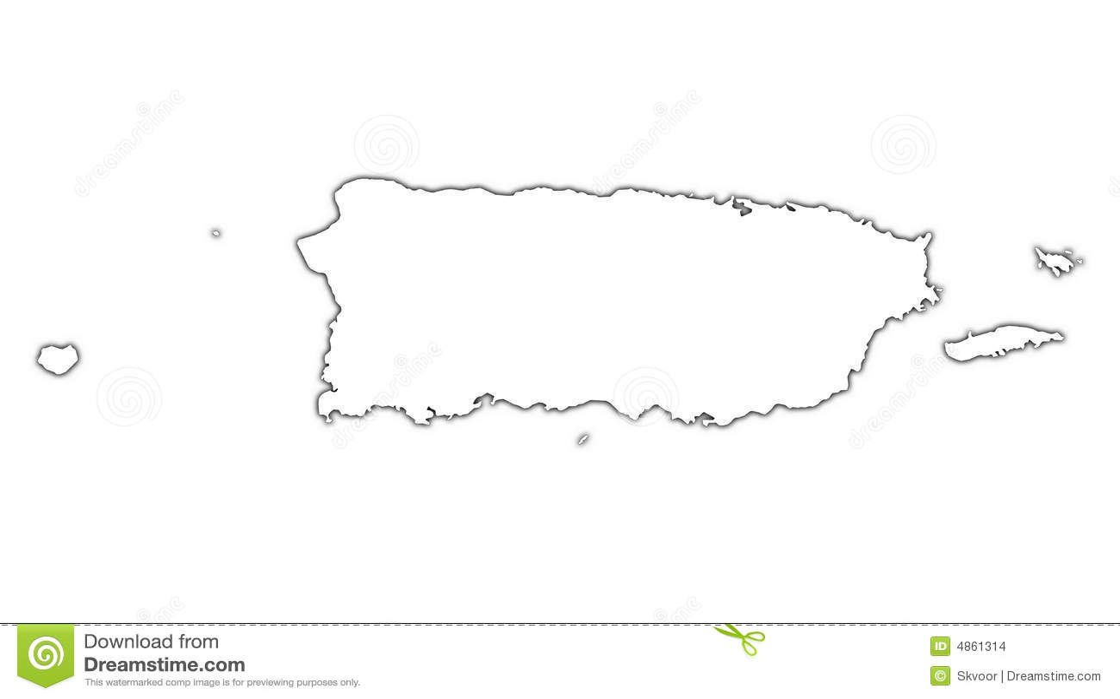 Puerto Rico Outline Map Stock Illustration Illustration