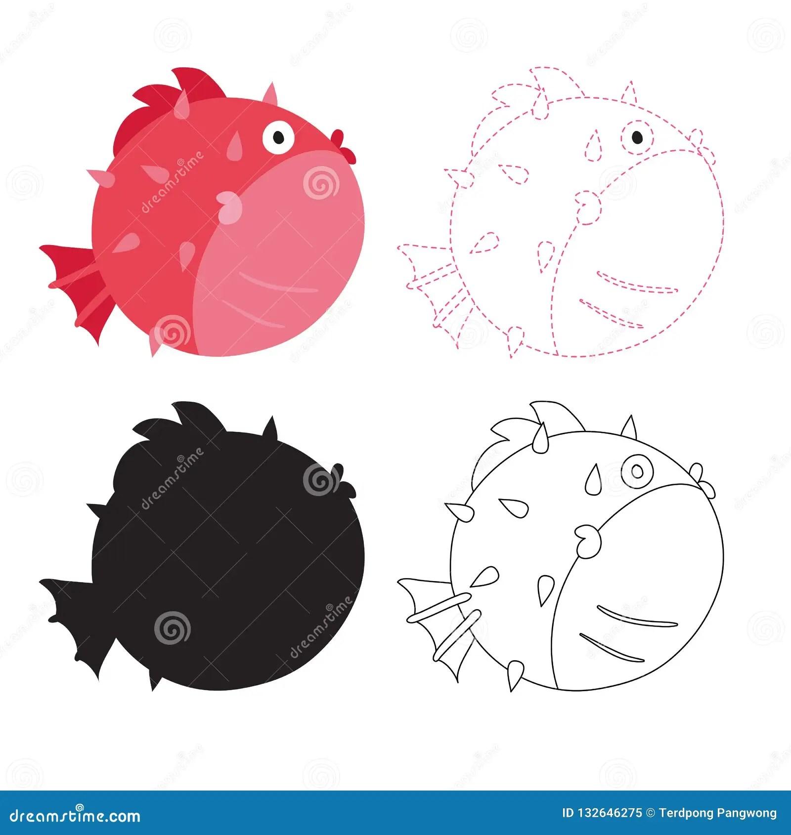 Puffer Fish Worksheet Vector Design Stock Vector