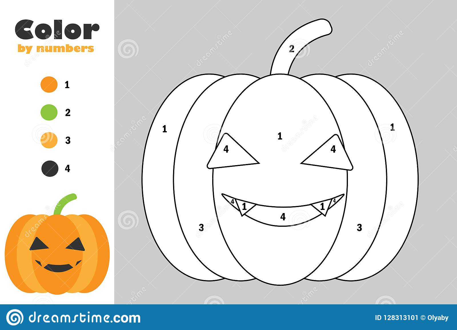 Pumpkin In Cartoon Style Color By Number Halloween
