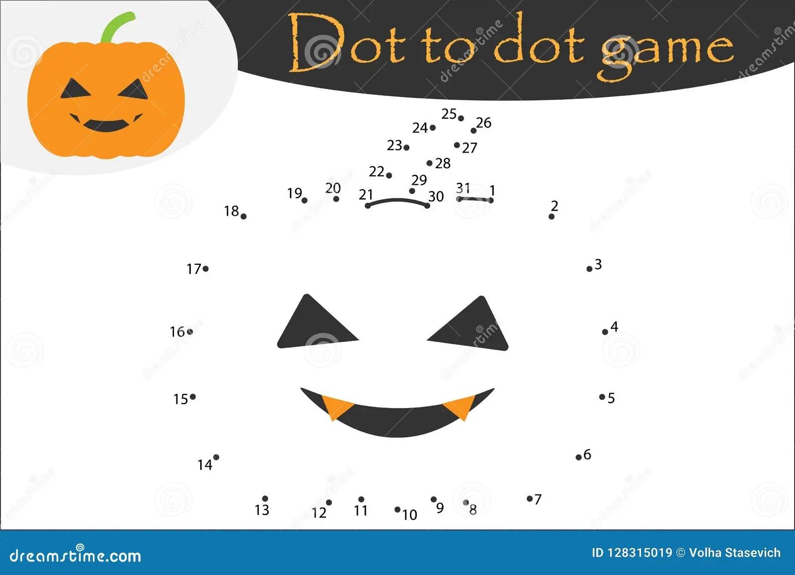 Pumpkin In Cartoon Style Halloween Dot To Dot Game