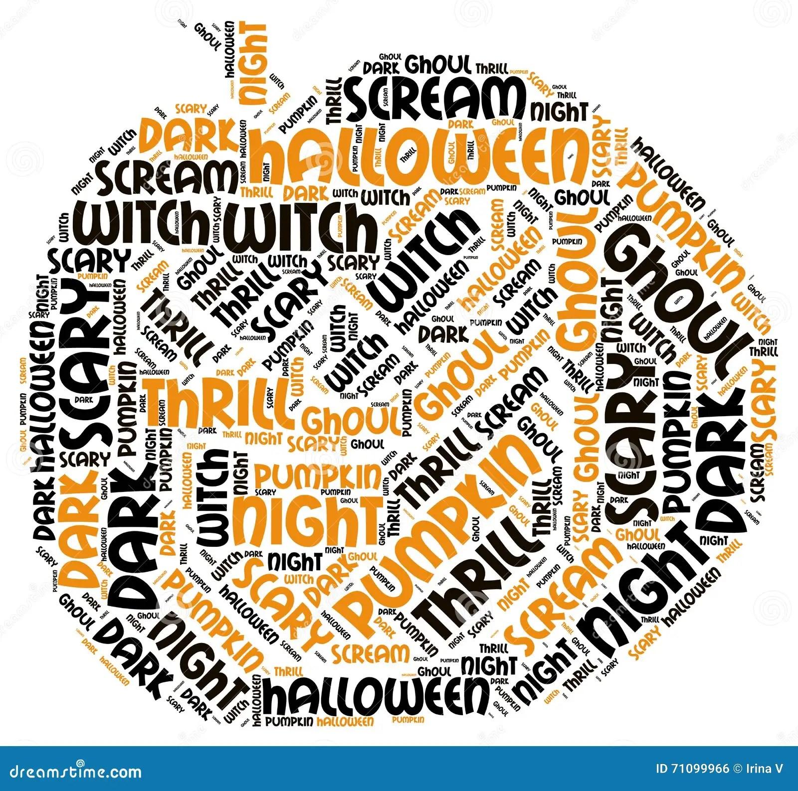 Pumpking Shape Halloween Word Tag Cloud Stock Photo