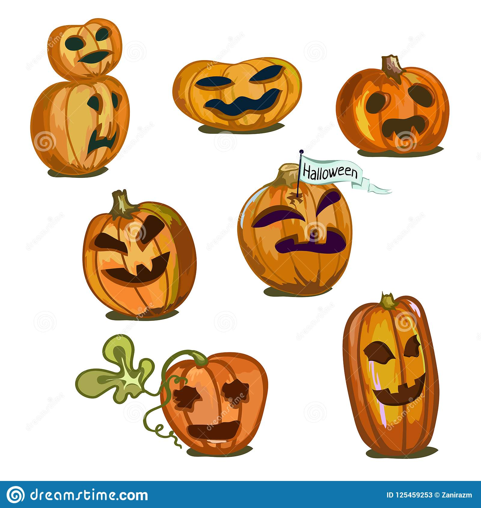 Pumpkins Of Different Sizes And Shapes For Halloween Stock