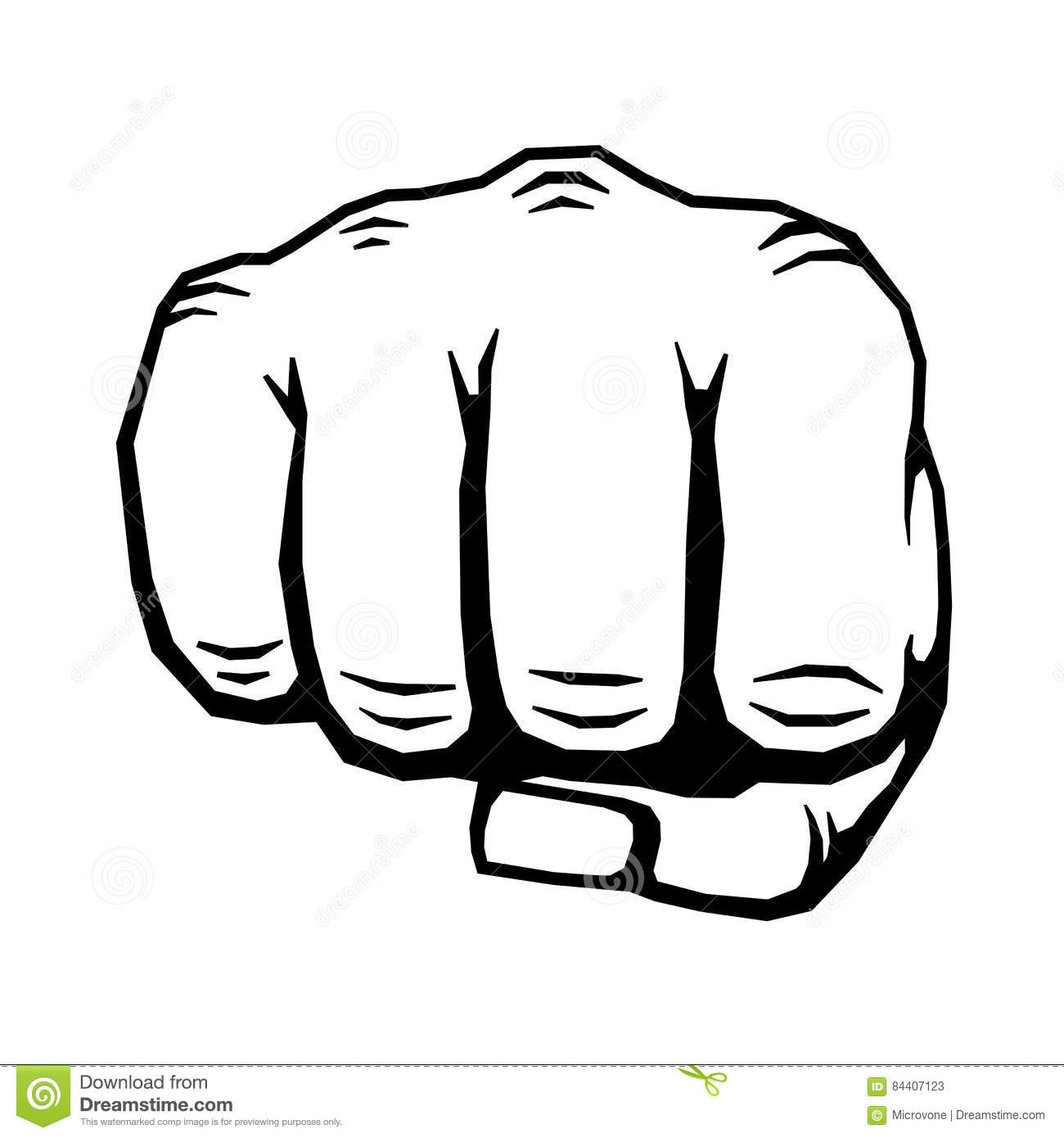 Punching Hand With Clenched Fist Vector Illustration Stock