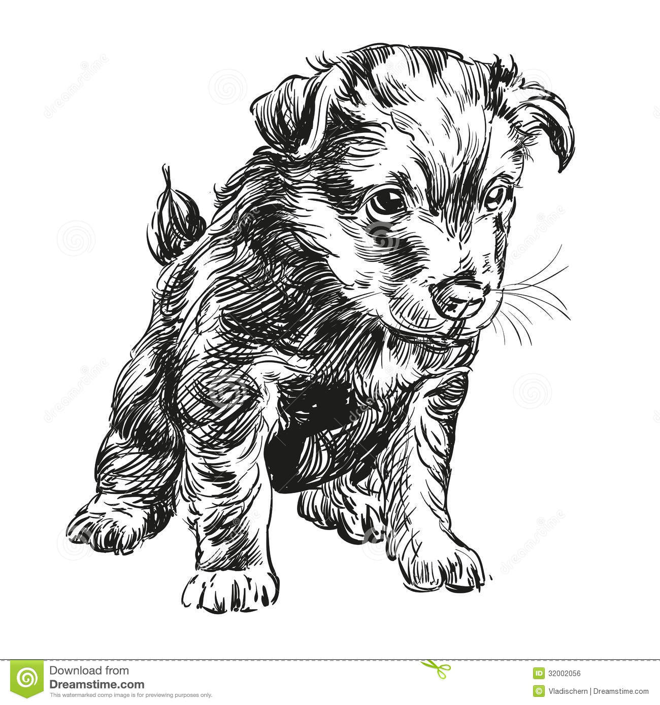 Puppy Dog Hand Drawn Vector Llustration Royalty Free Stock Image