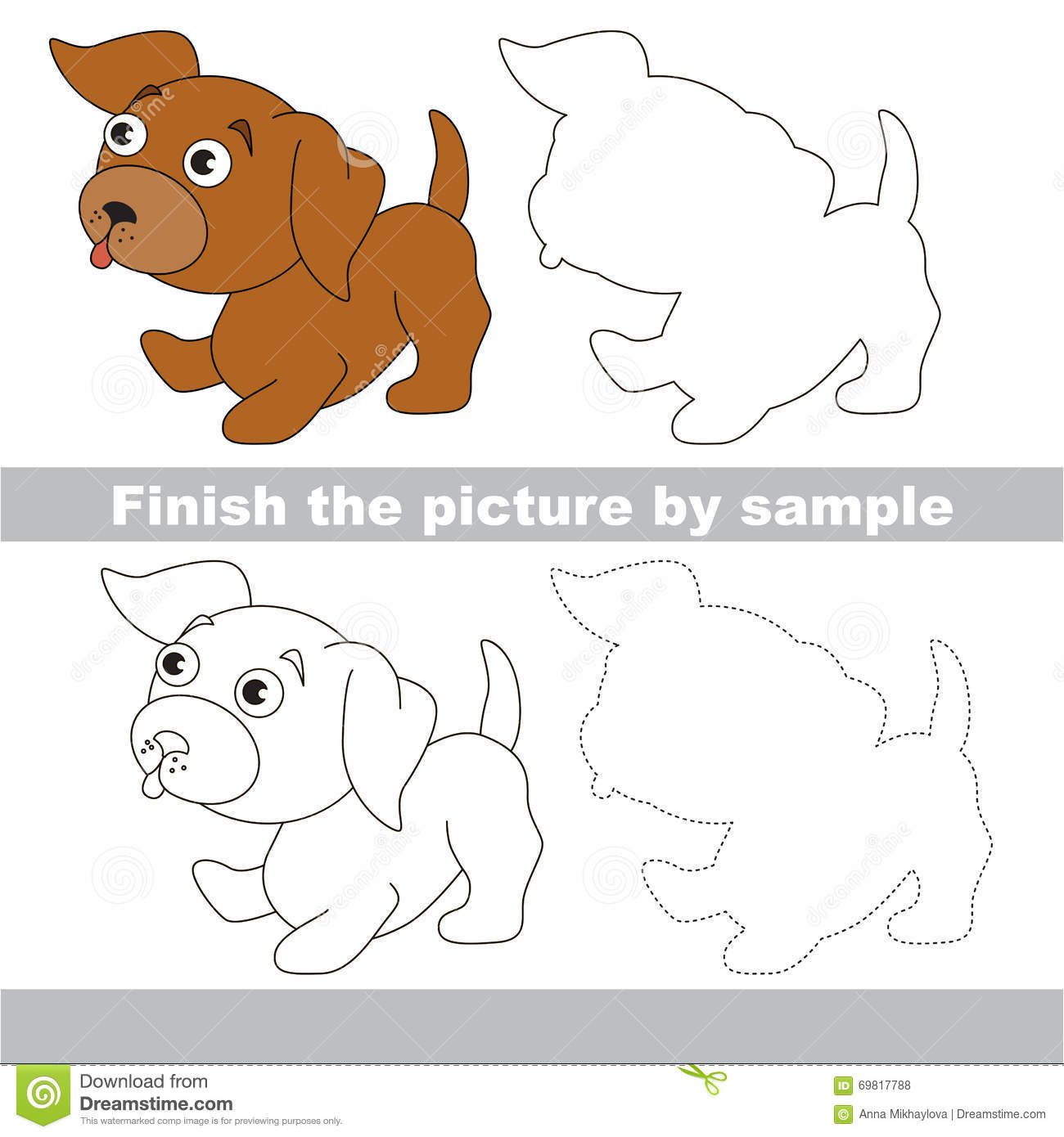 Puppy Drawing Worksheet Stock Vector Illustration Of
