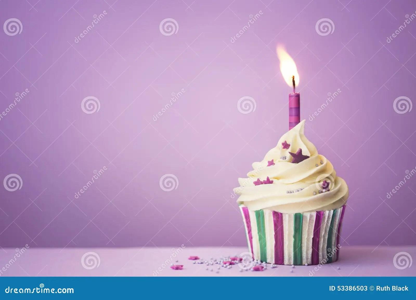 Purple Birthday Cupcake Stock Image Image Of Copy