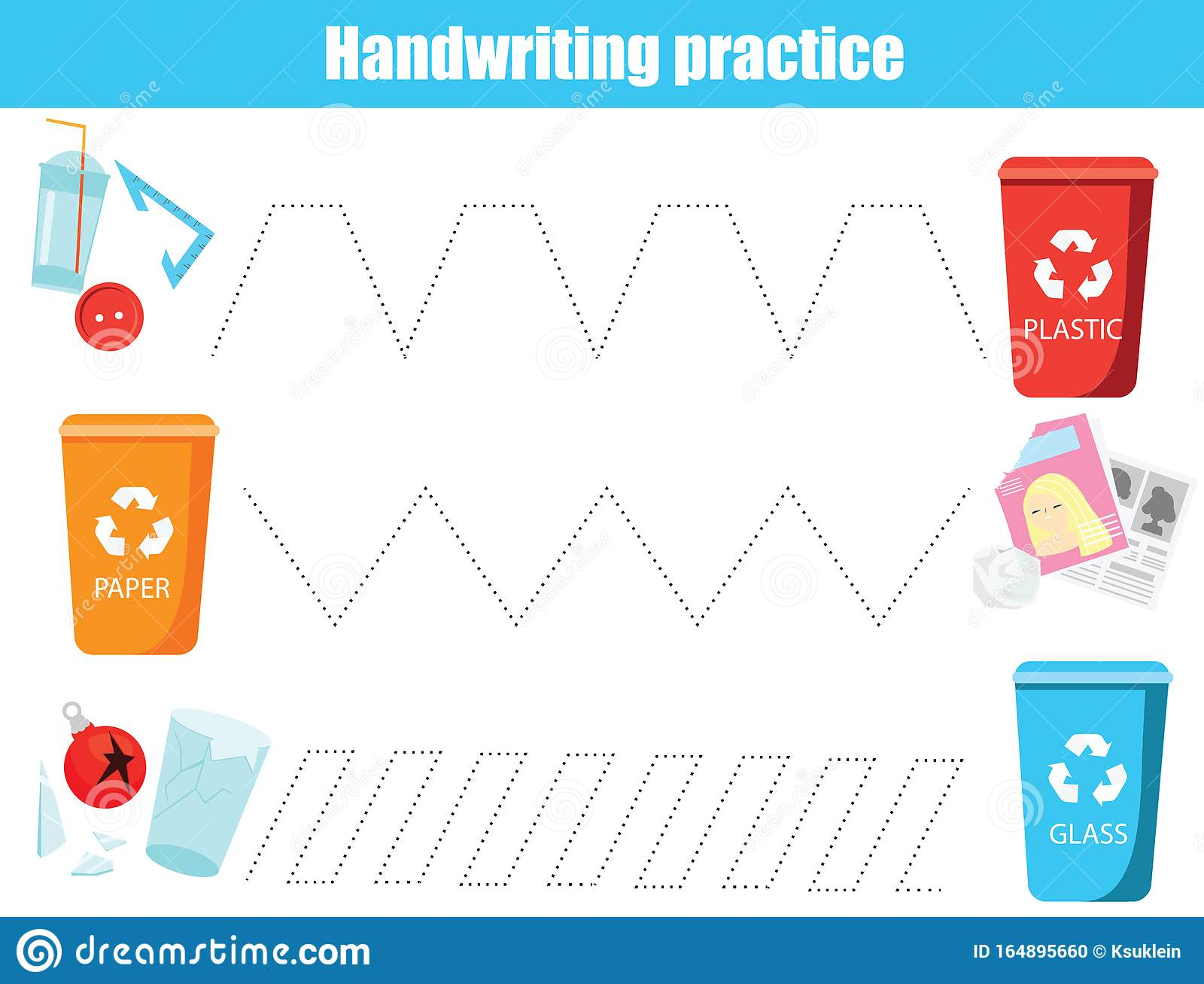 Put Trash In Bin Handwriting Practice Sheet Educational