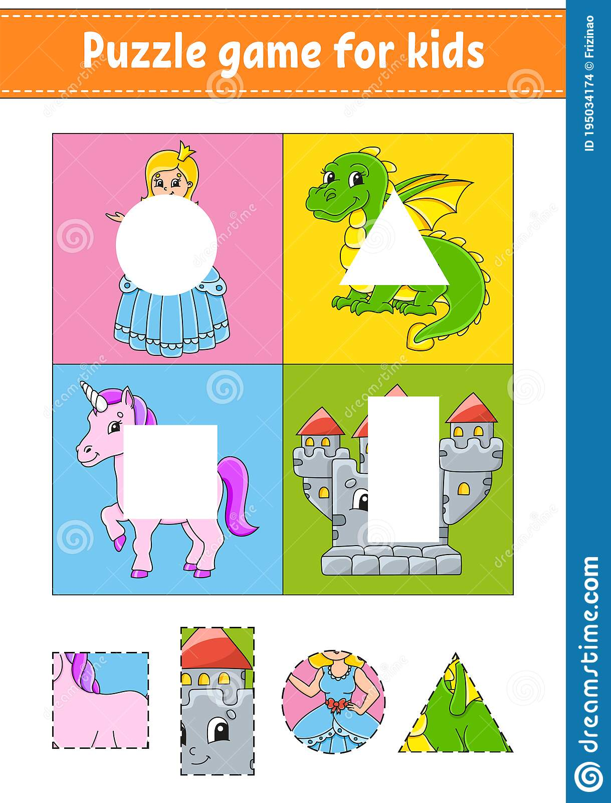 Puzzle Game For Kids Cut And Paste Cutting Practice