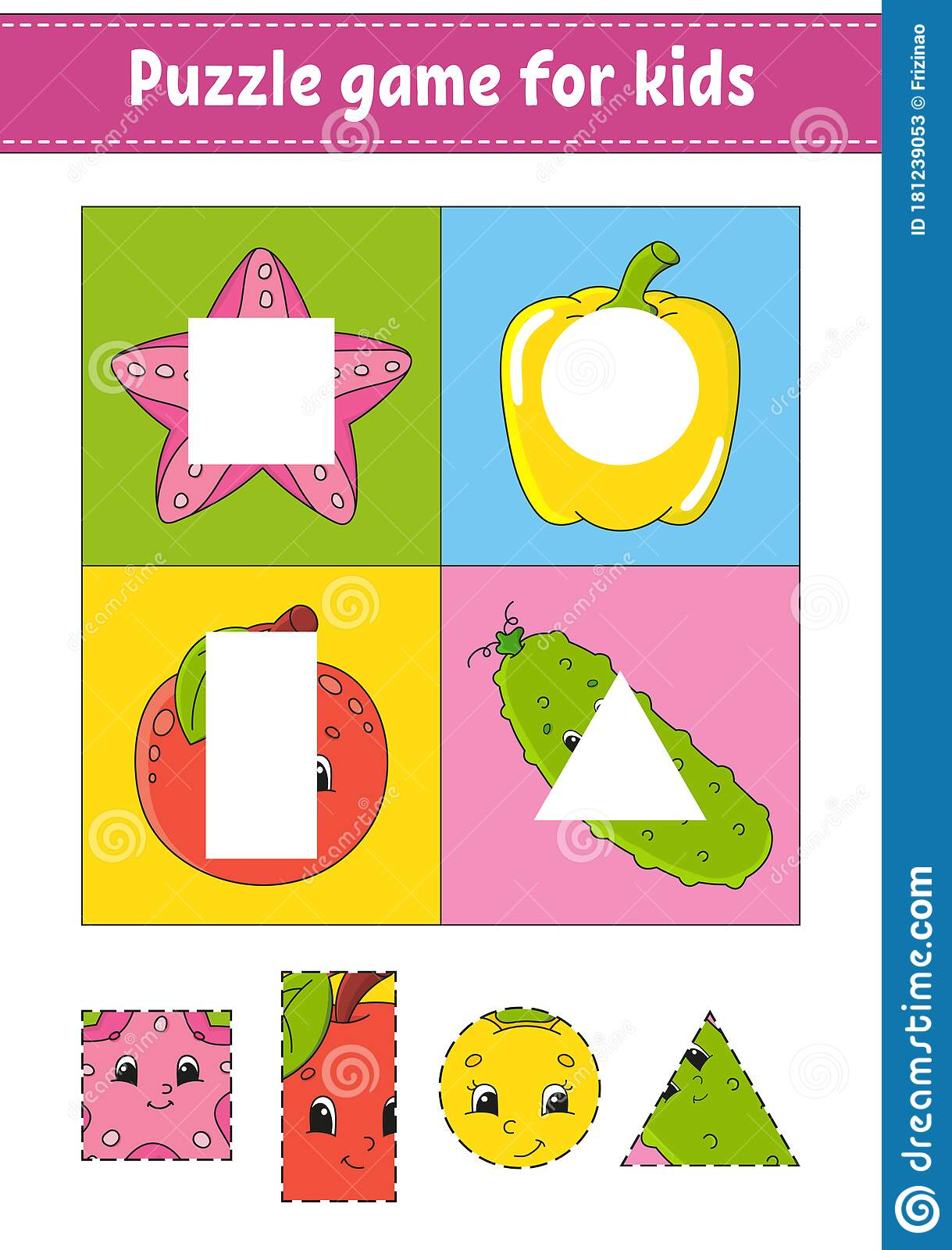 Puzzle Game For Kids Cutting Practice Fruits And