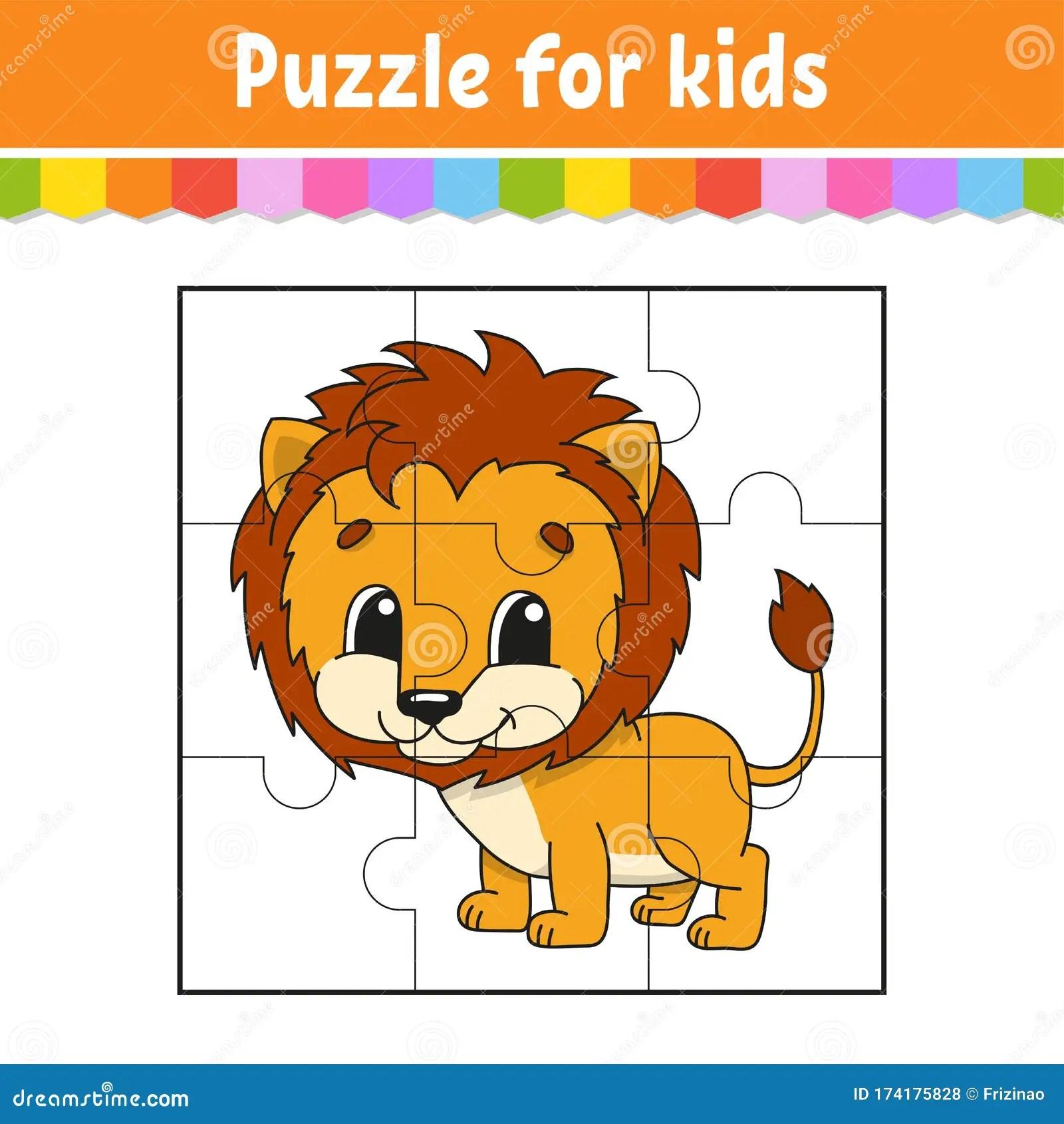 Puzzle Game For Kids Orange Lion Education Worksheet