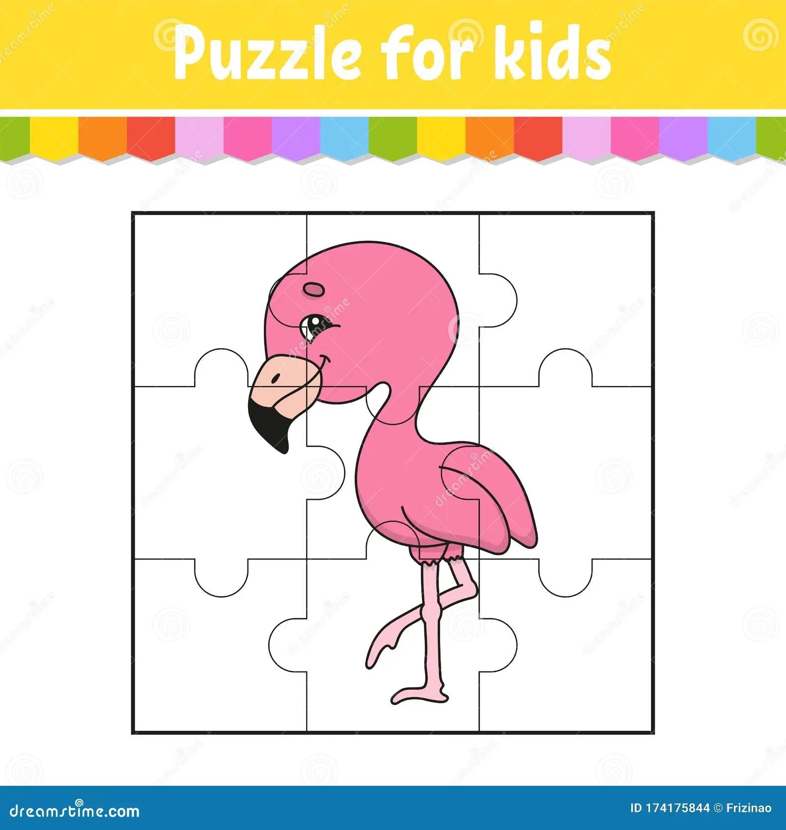 Puzzle Game For Kids Pink Flamingo Education Worksheet