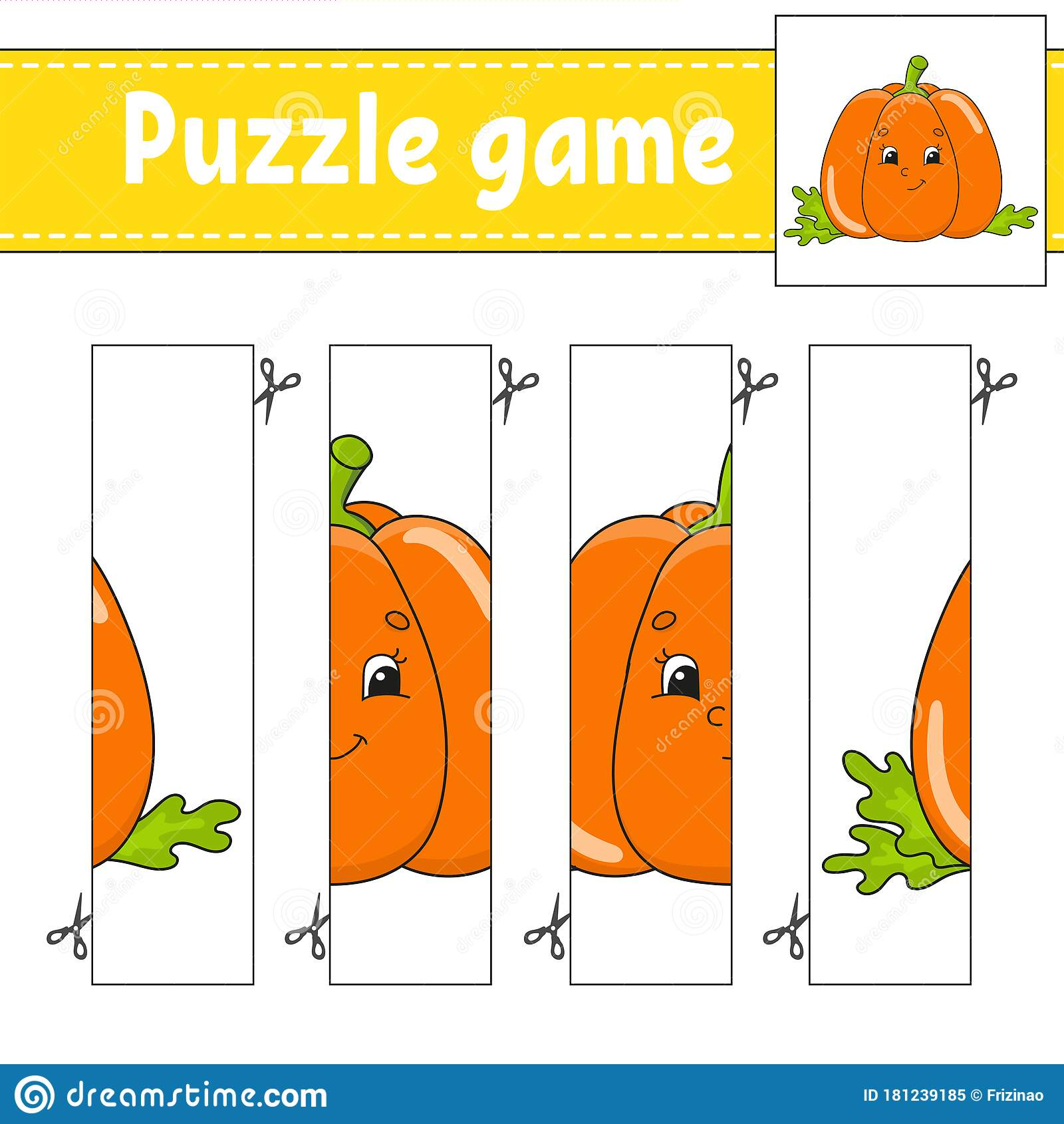 Puzzle Game For Kids Vegetable Pumpkin Cutting Practice