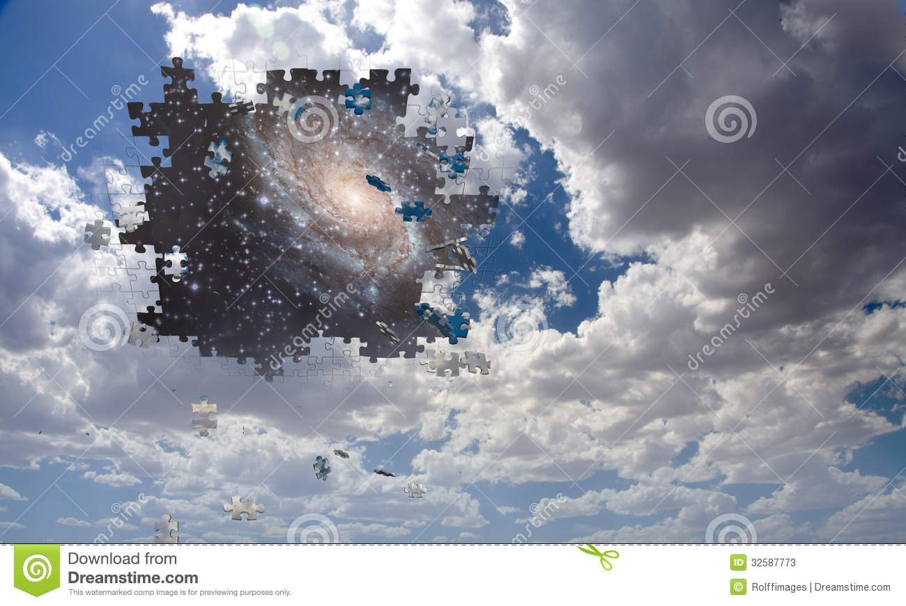 Puzzle Piece Daytime Sky Reveals Night Stock Illustration