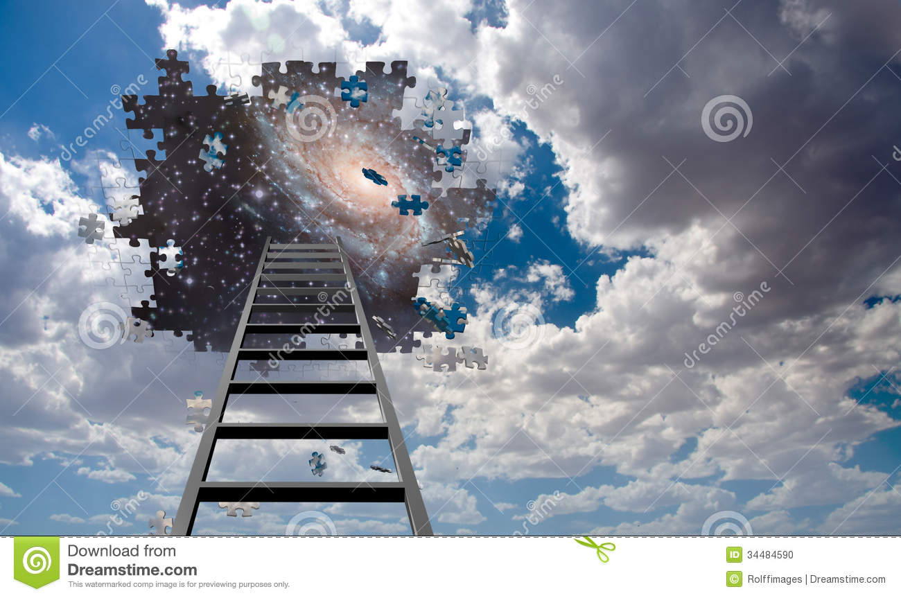 Puzzle Piece Hole In Sky And Ladder Stock Photo