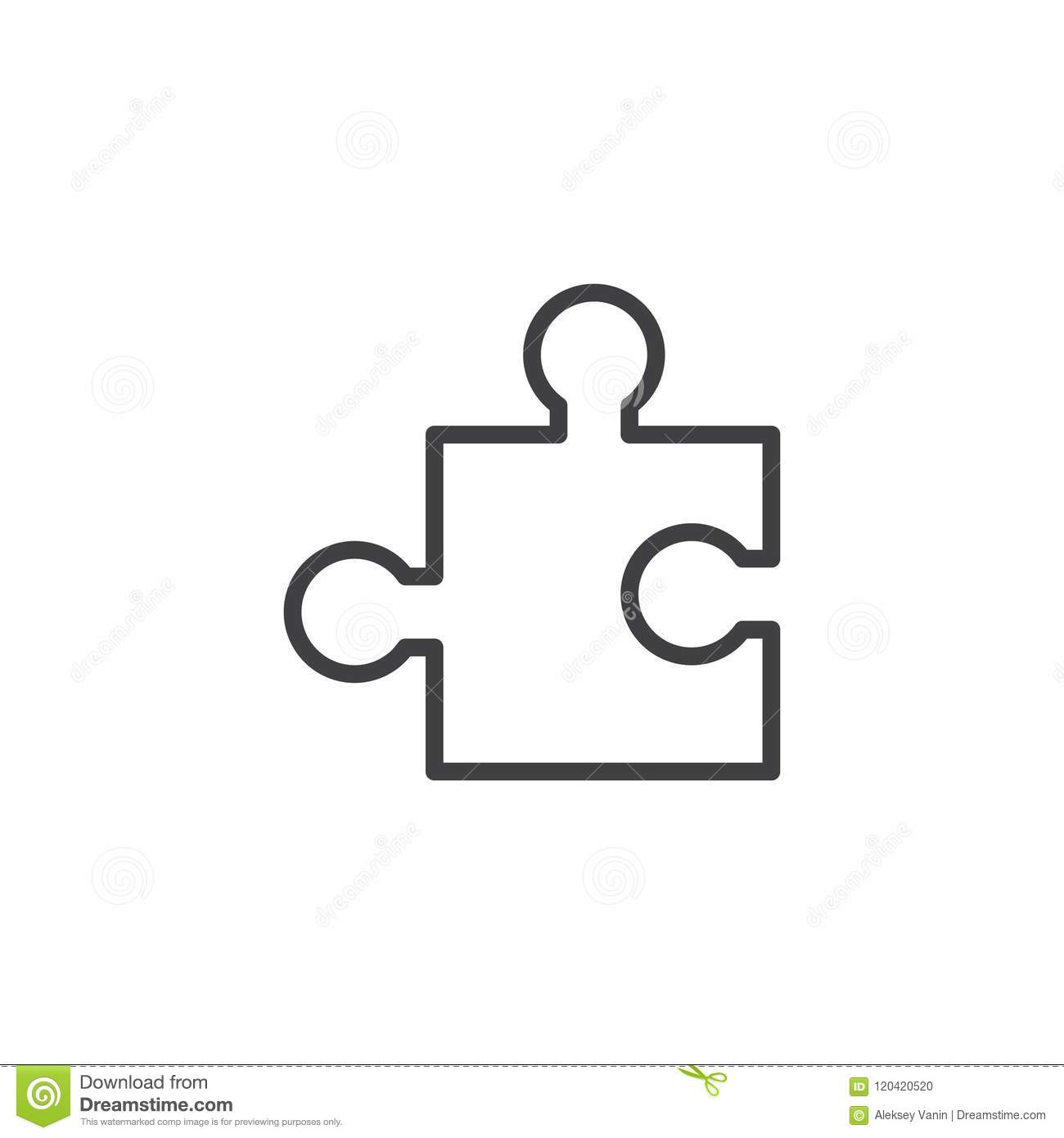 Puzzle Piece Outline Icon Stock Vector Illustration Of