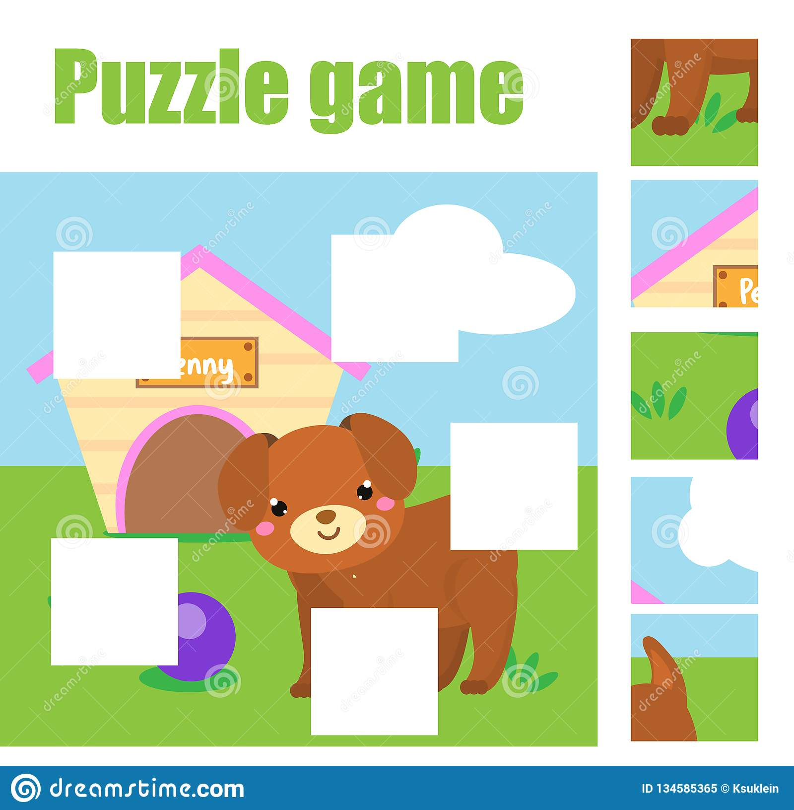 Puzzle For Toddlers Complete The Picture With Dog