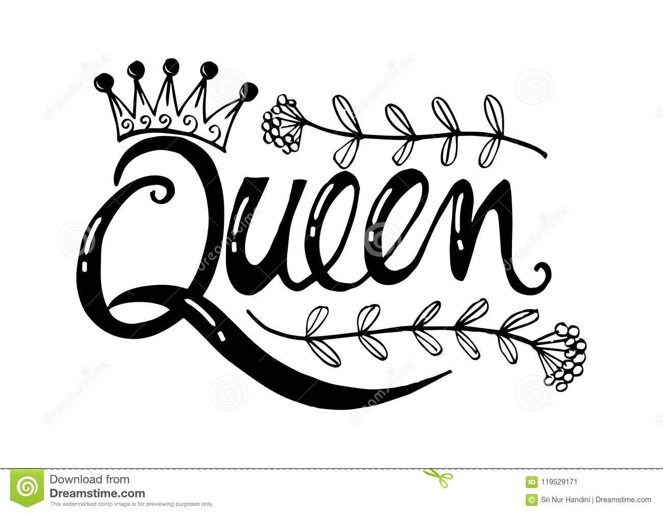 Queen Hand Lettering Stock Illustration Illustration Of