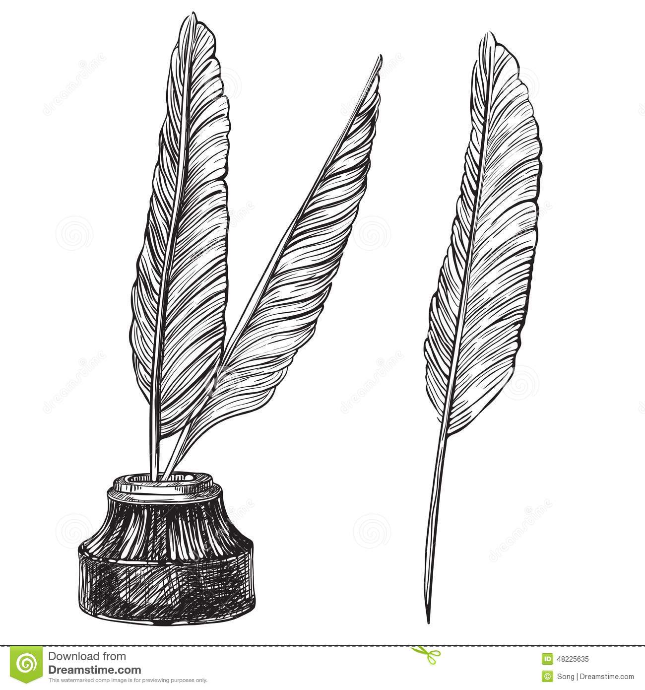 Quill Pens And Inkwell Stock Vector