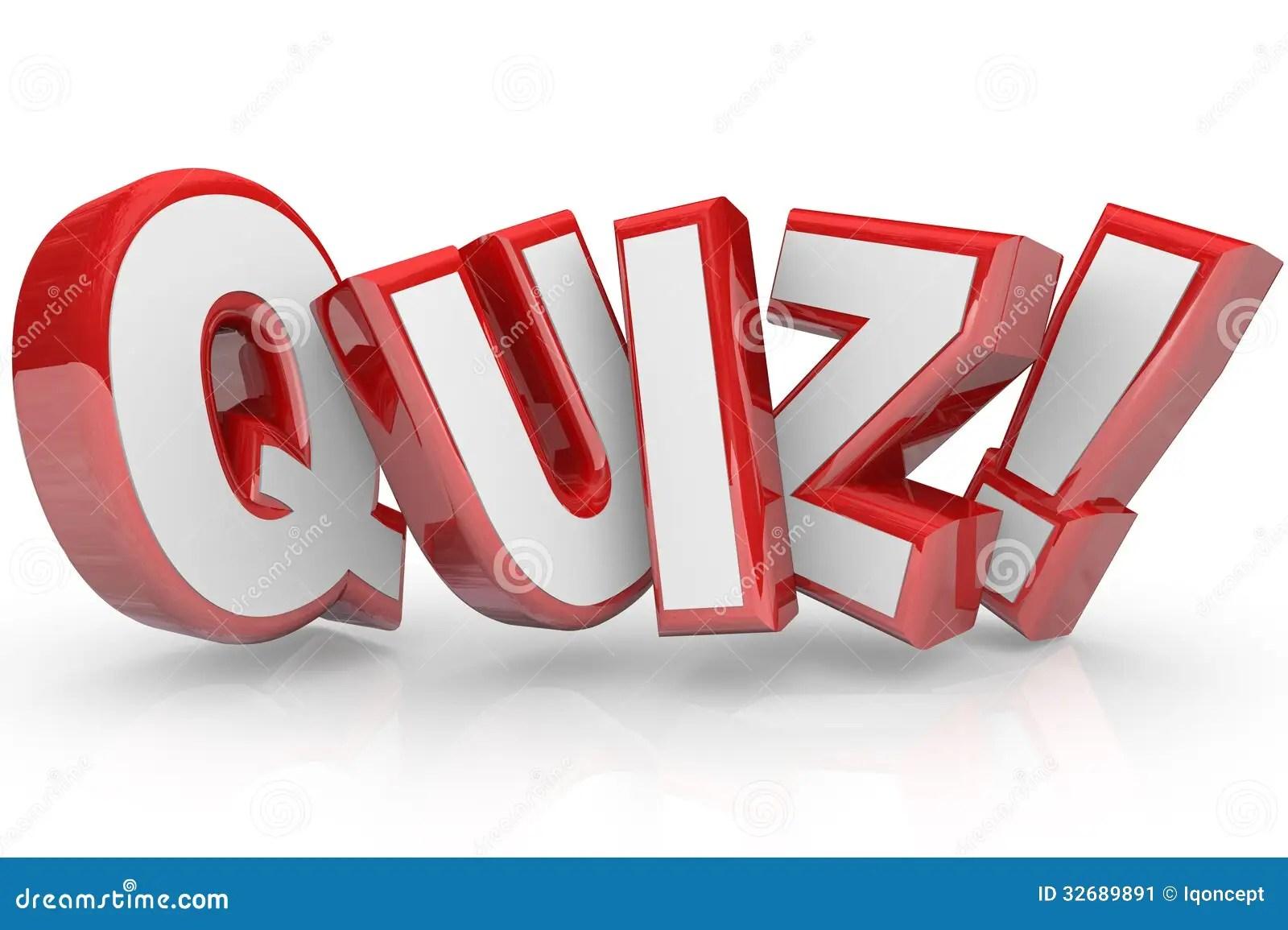 Quiz De Rode 3d Word Beoordeling Van Het Testexamen Stock Illustratie
