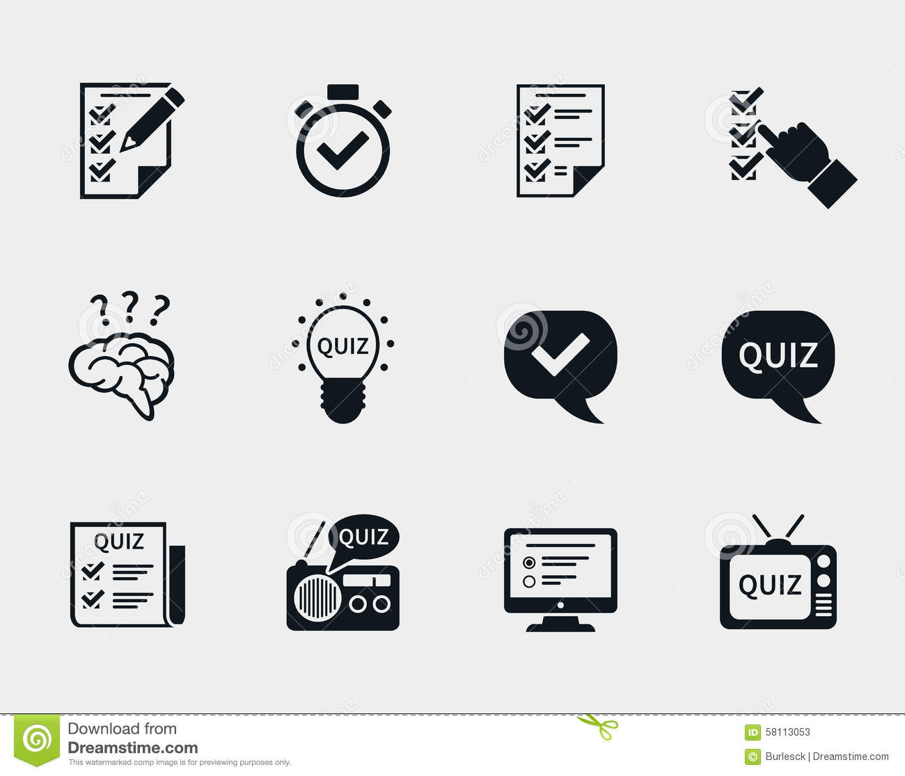 Quiz Icon Set Stock Vector Illustration Of Education