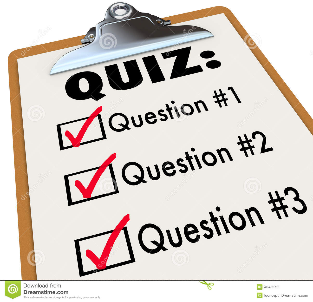 Quiz Word Clipboard Three Questions Answers Test Evaluation Stock Illustration