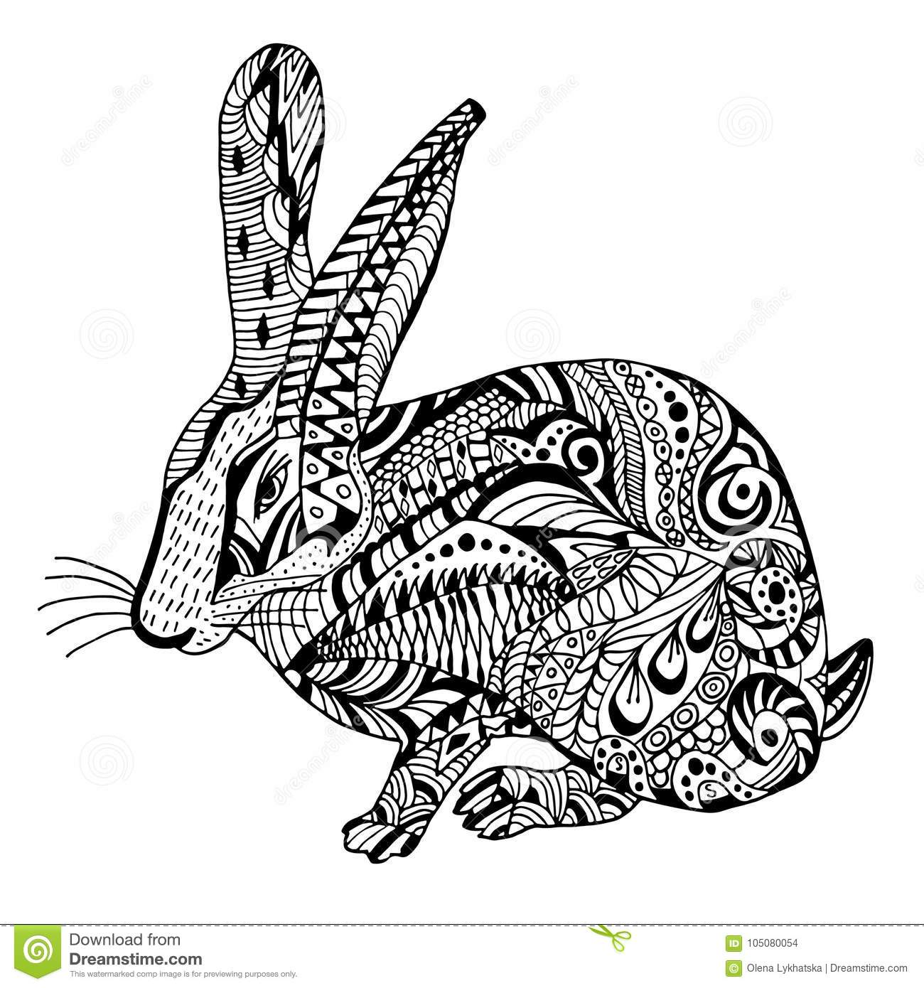 Rabbit Hand Drawn Doodle Graghic Stock Vector