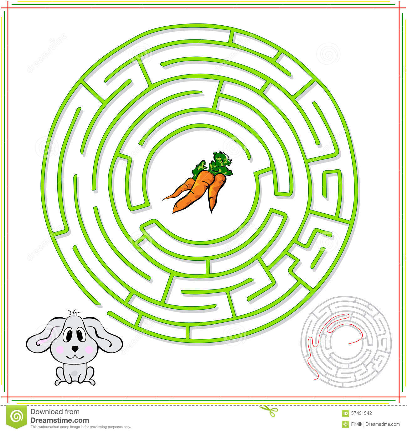 Rabbit Or Hare Must Go To Carrot Stock Vector