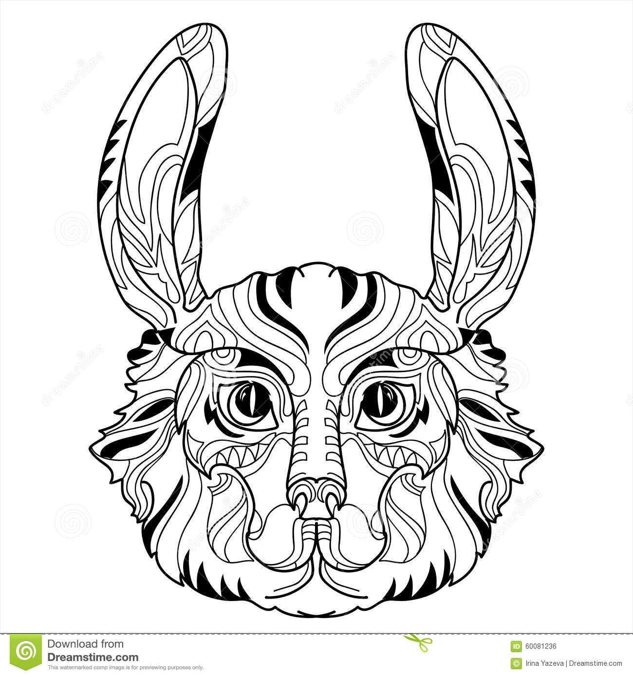 Rabbit Head Doodle With Black Nose Stock Vector