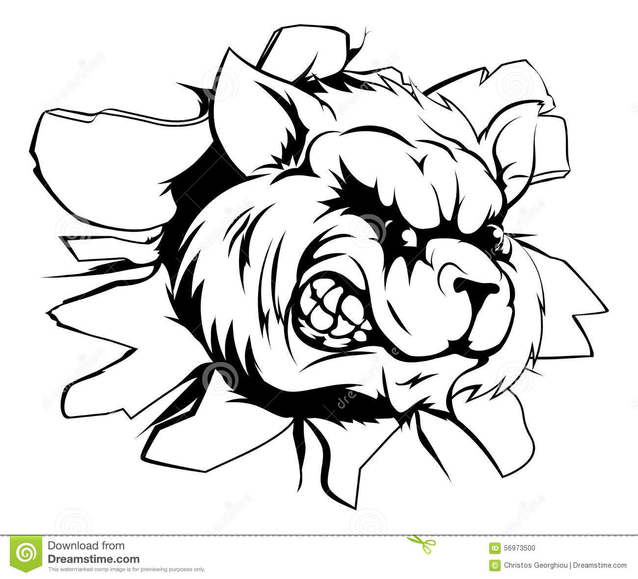 Raccoon Mascot Breaking Through Wall Stock Vector