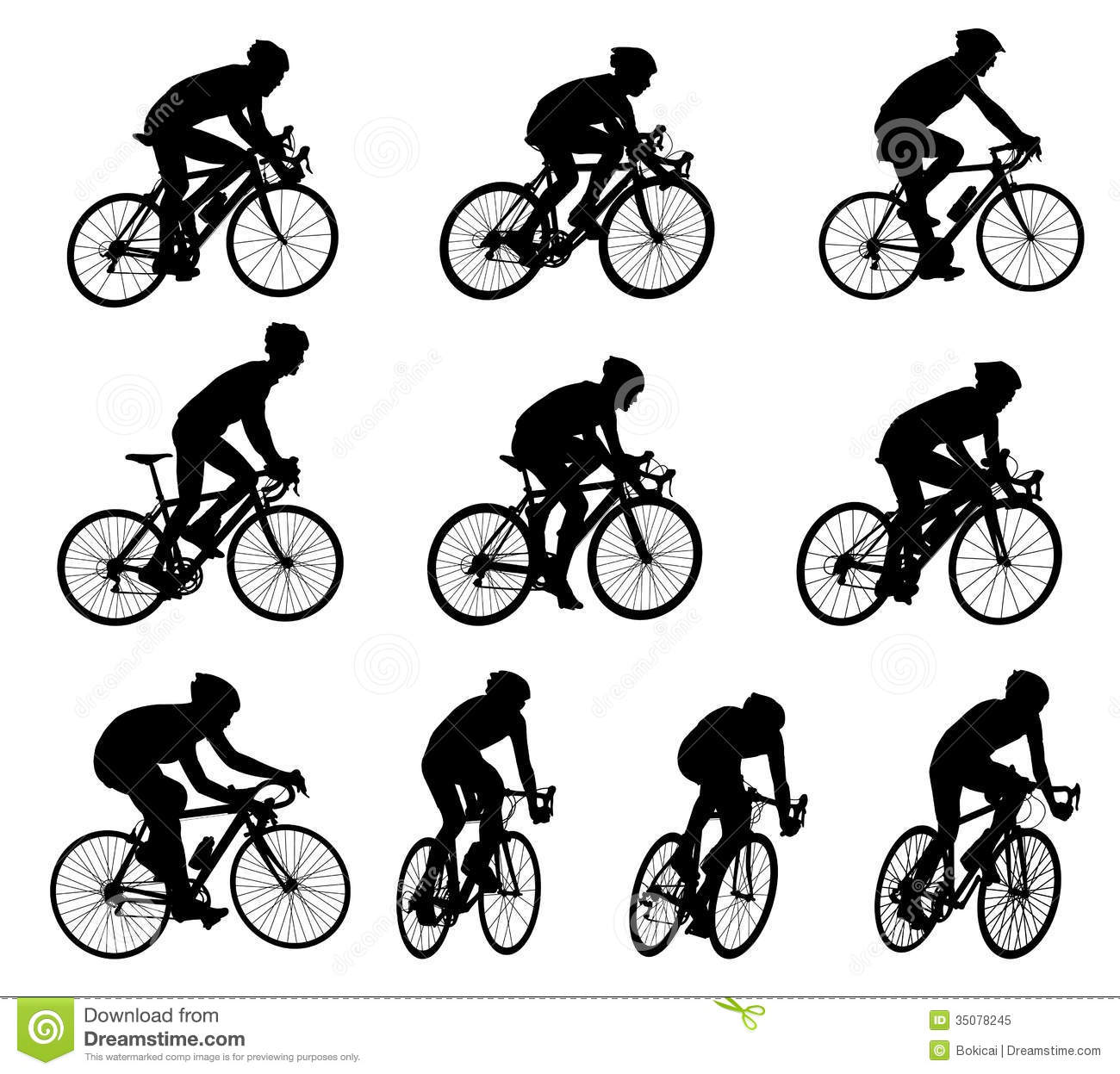 Race Bicyclists Silhouettes Stock Vector