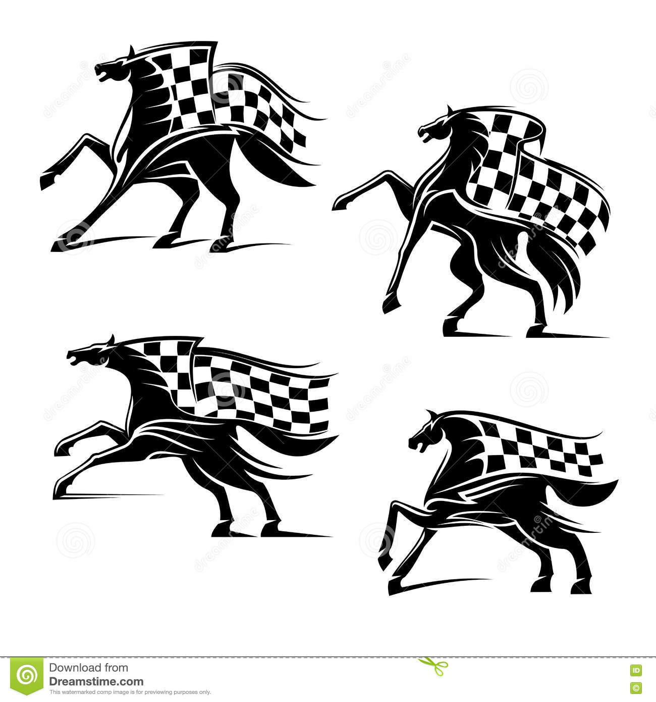 Racing Sport Emblems Running Horses With Flags Stock