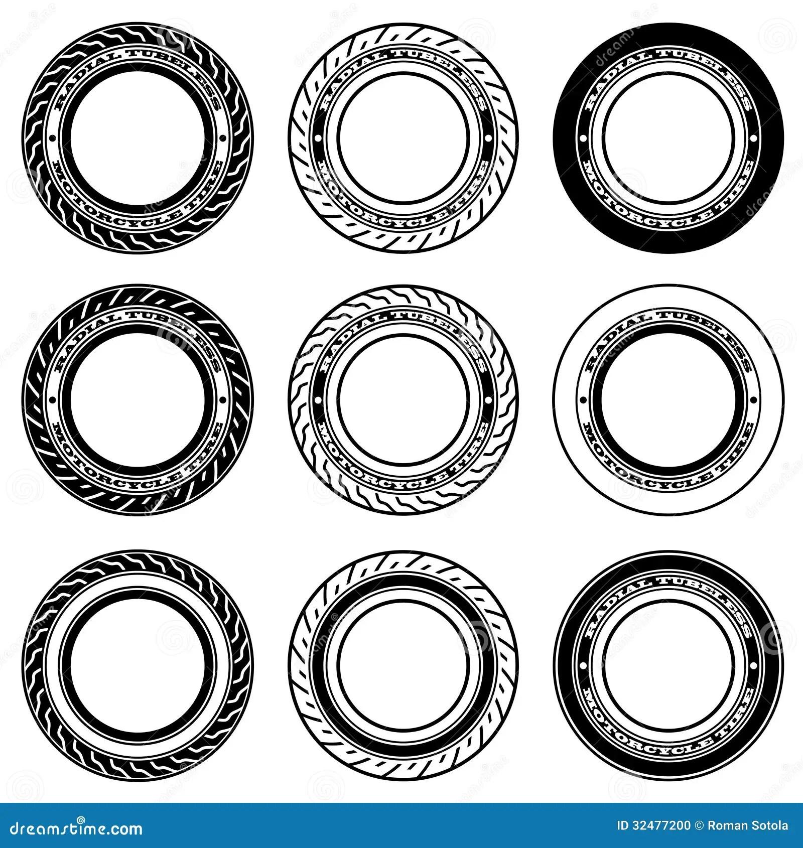 Radial Tubeless Motorcycle Tyre Symbols Stock Photo