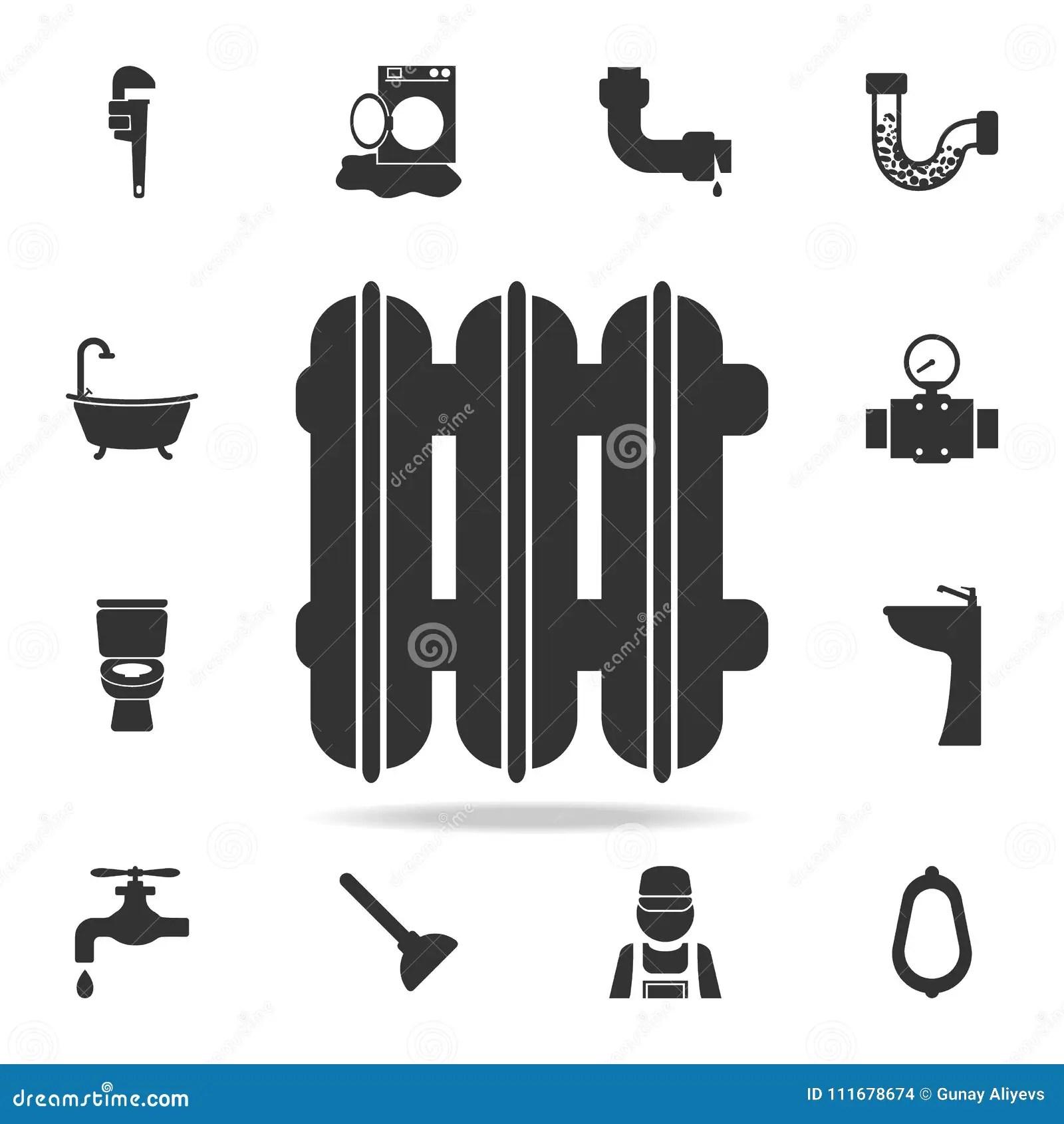 Black Radiator Icon With Shadow Cartoon Vector