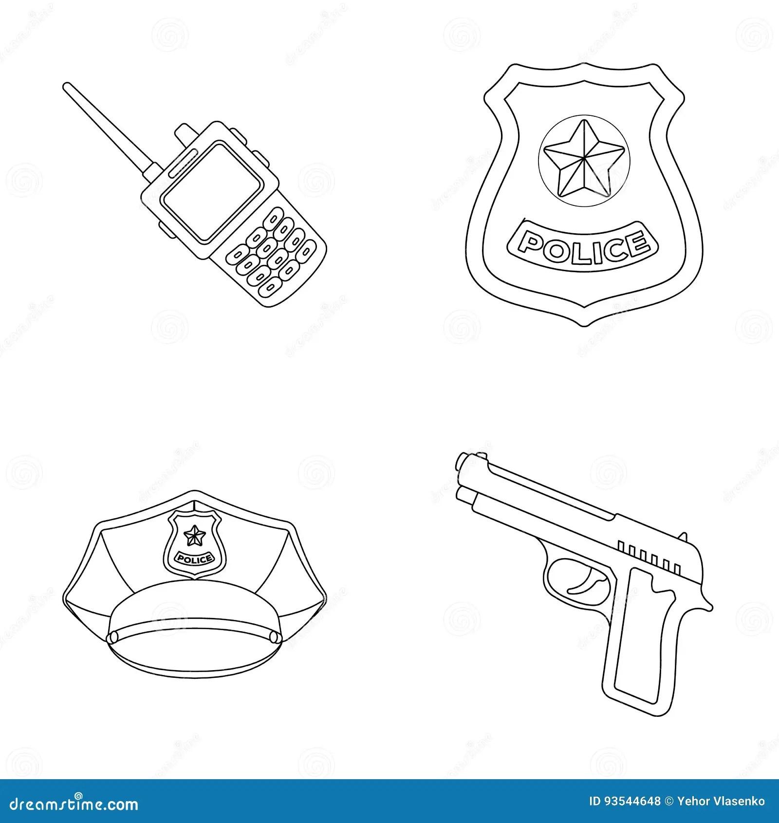 Radio Police Officer S Badge Uniform Cap Pistol Police