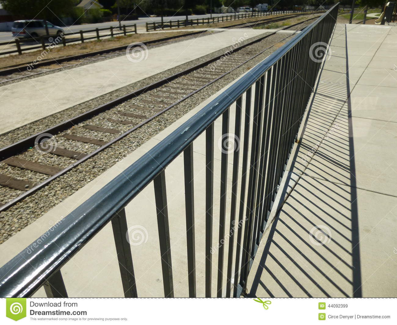 Railroad Fence Perspective Stock Image Image Of Lines