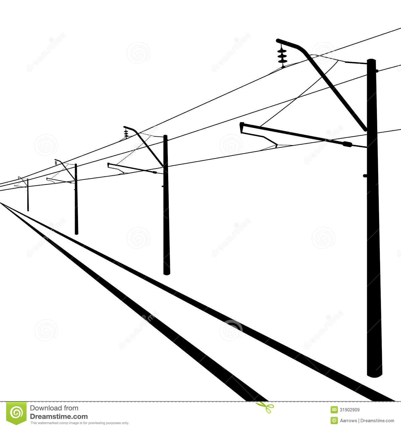 Railroad Overhead Lines Royalty Free Stock Images