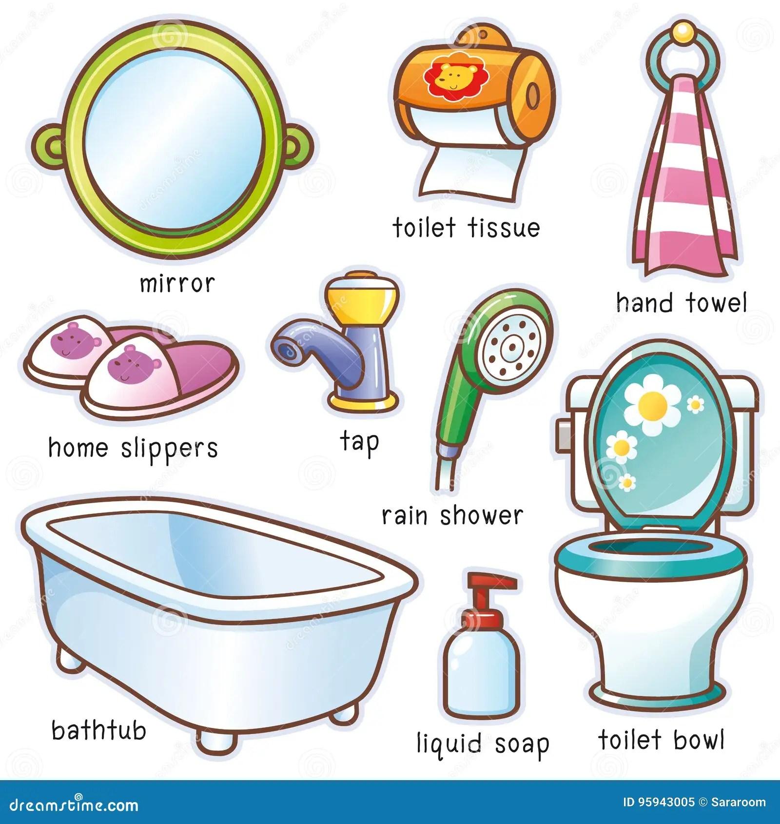 Bathroom Element Vocabulary Stock Vector
