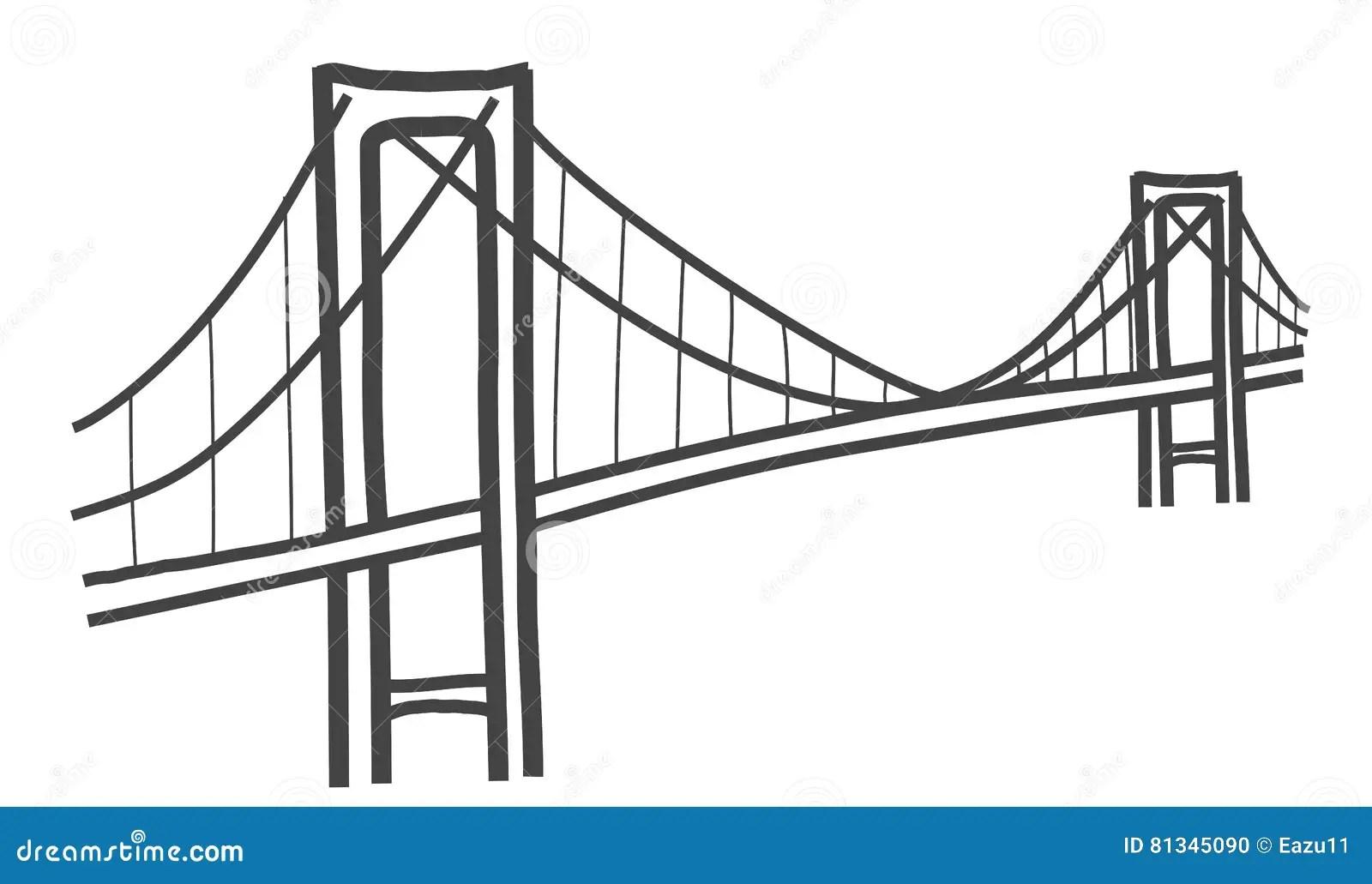Cable Bridge Drawing Royalty Free Cartoon