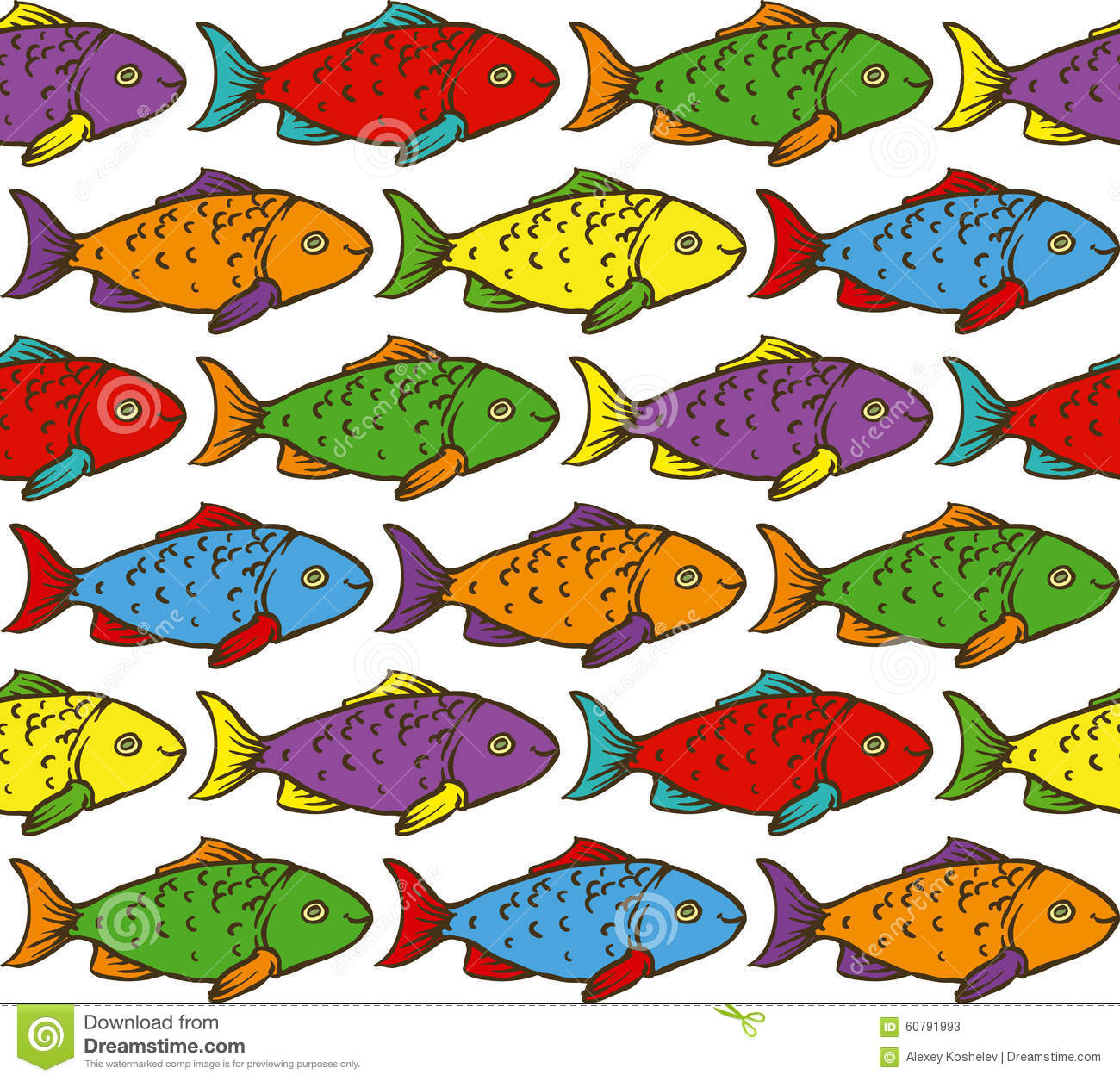 Rainbow Fish Seamless Pattern Stock Vector