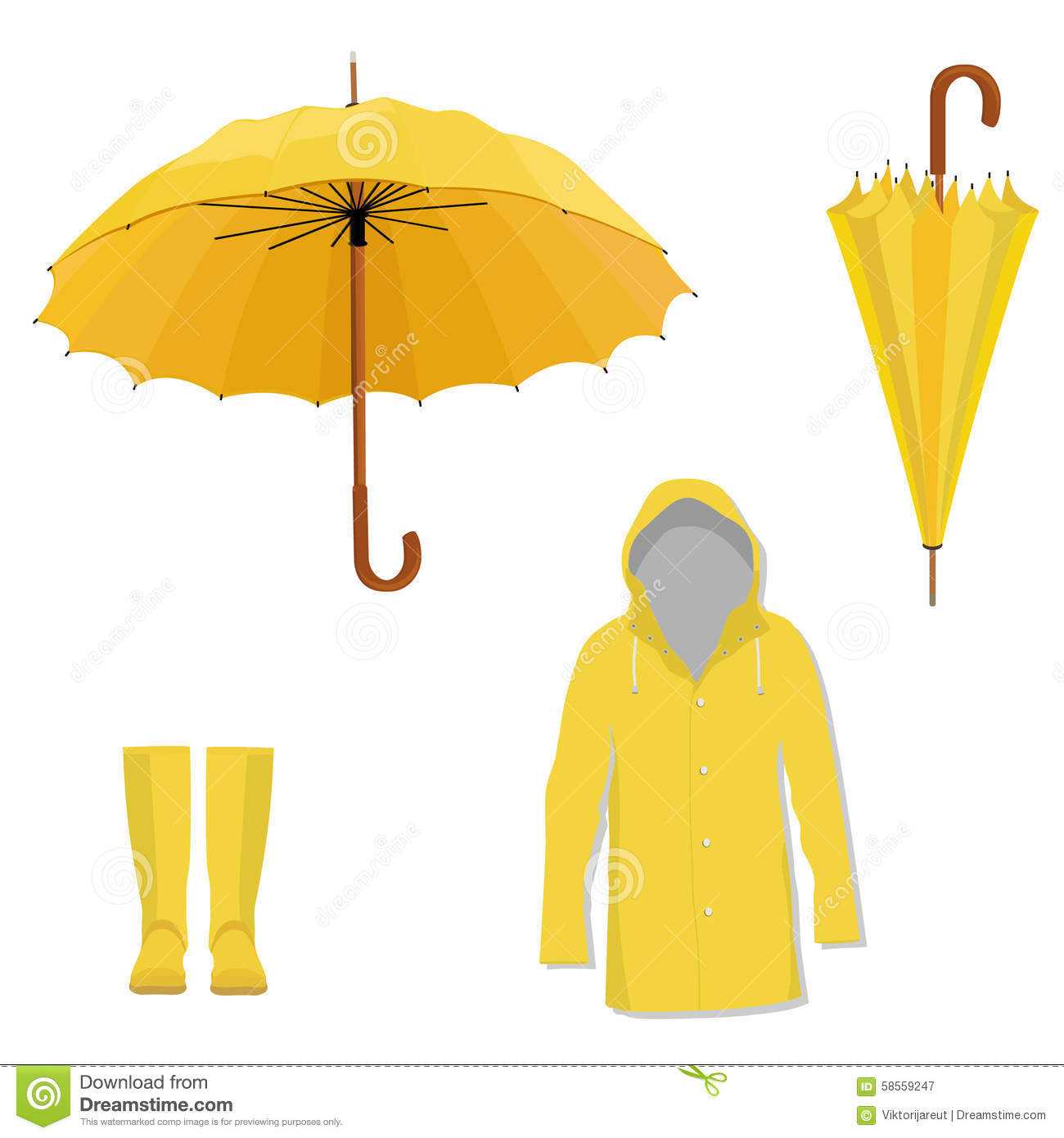 Raincoat Boots Umbrella Stock Illustration