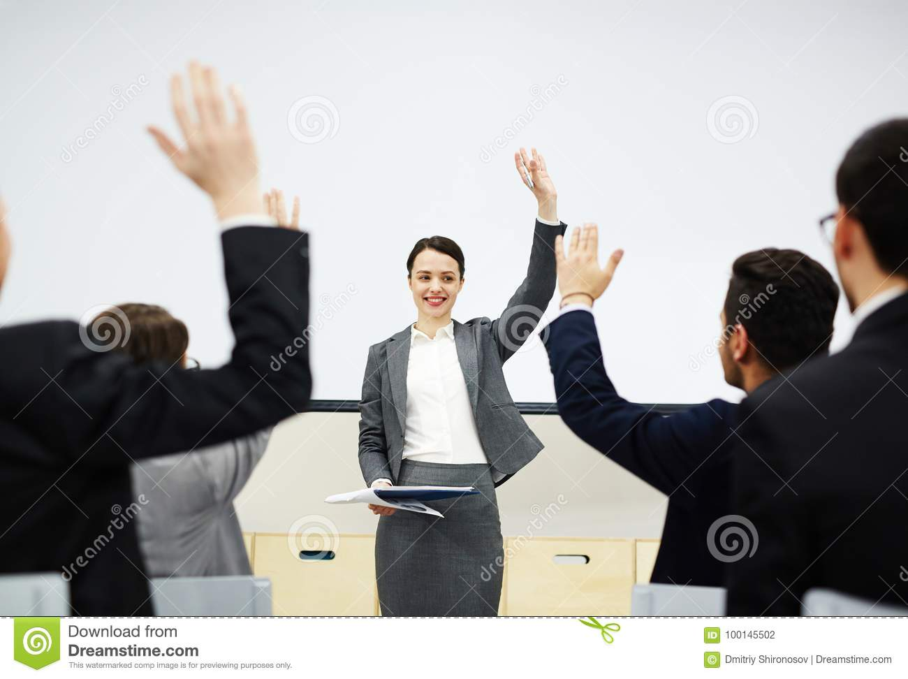 Raise Your Hand In Case You Agree Stock Photo