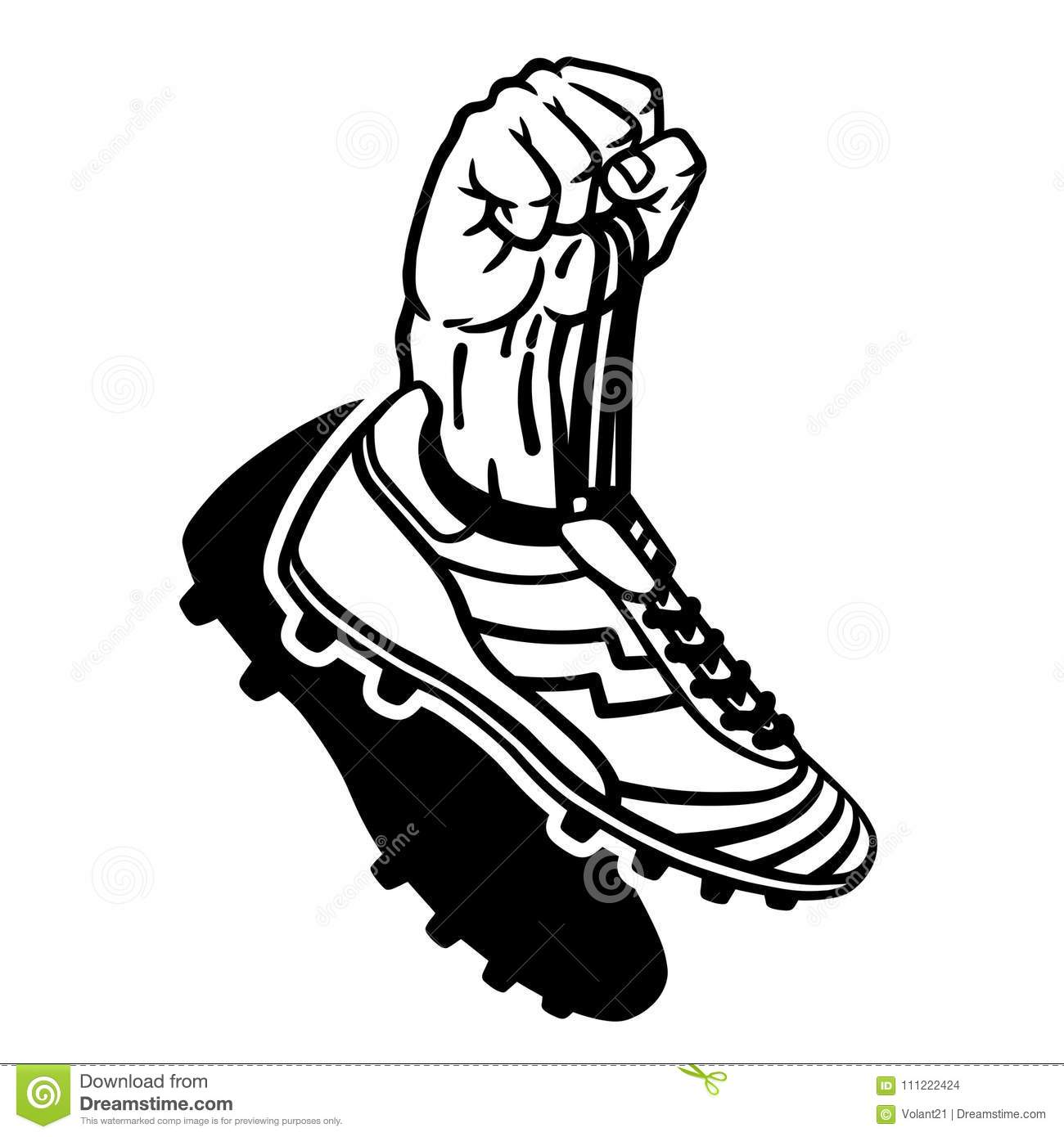 Raised Hand Holding Football Boots Stock Vector