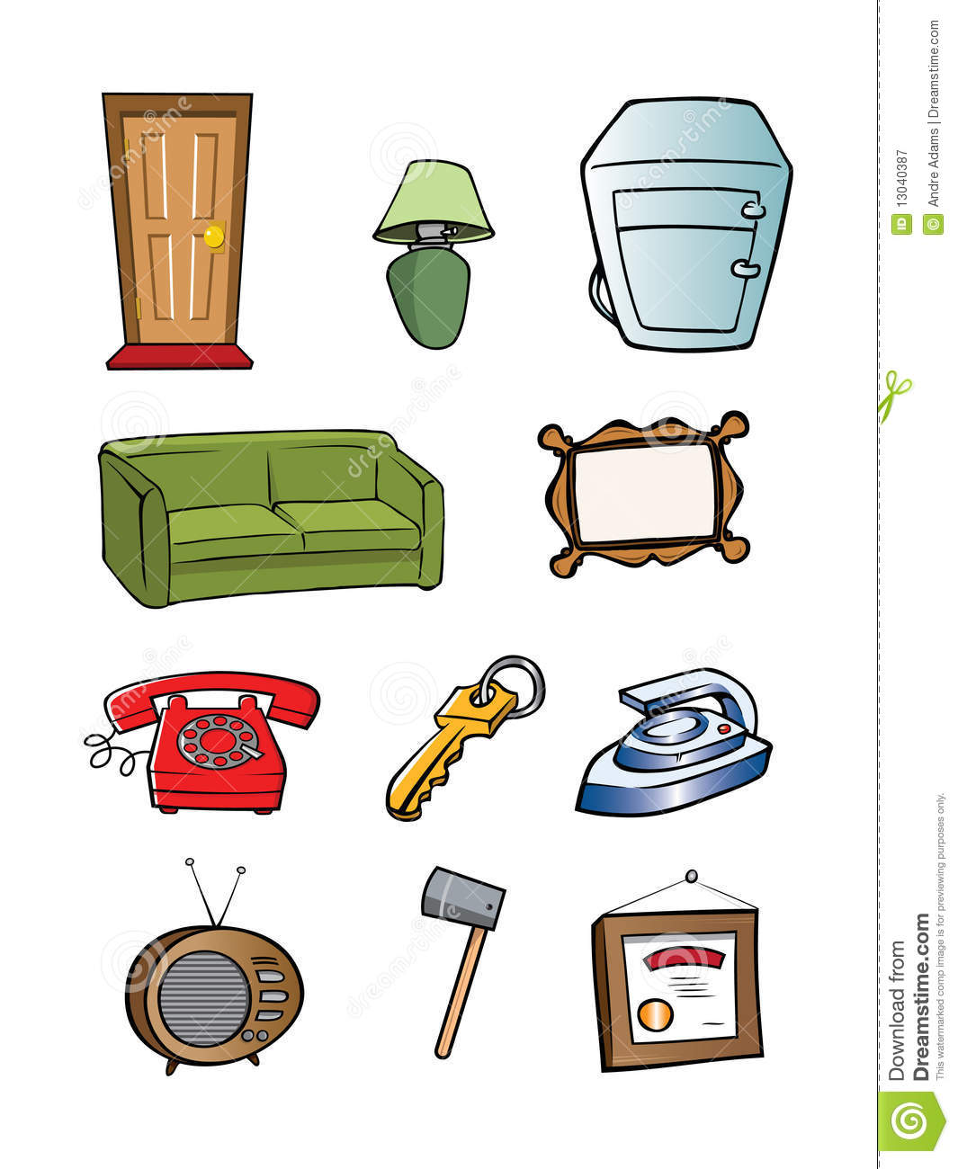 Random Household Objects Collection Stock Vector