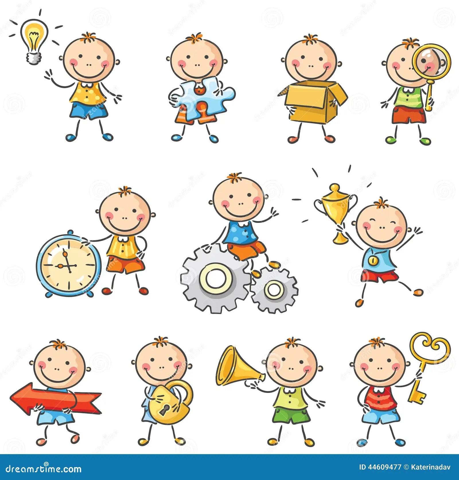 Rapaz Pequeno Dos Desenhos Animados Com Objetos Diferentes Ilustracao Do Vetor