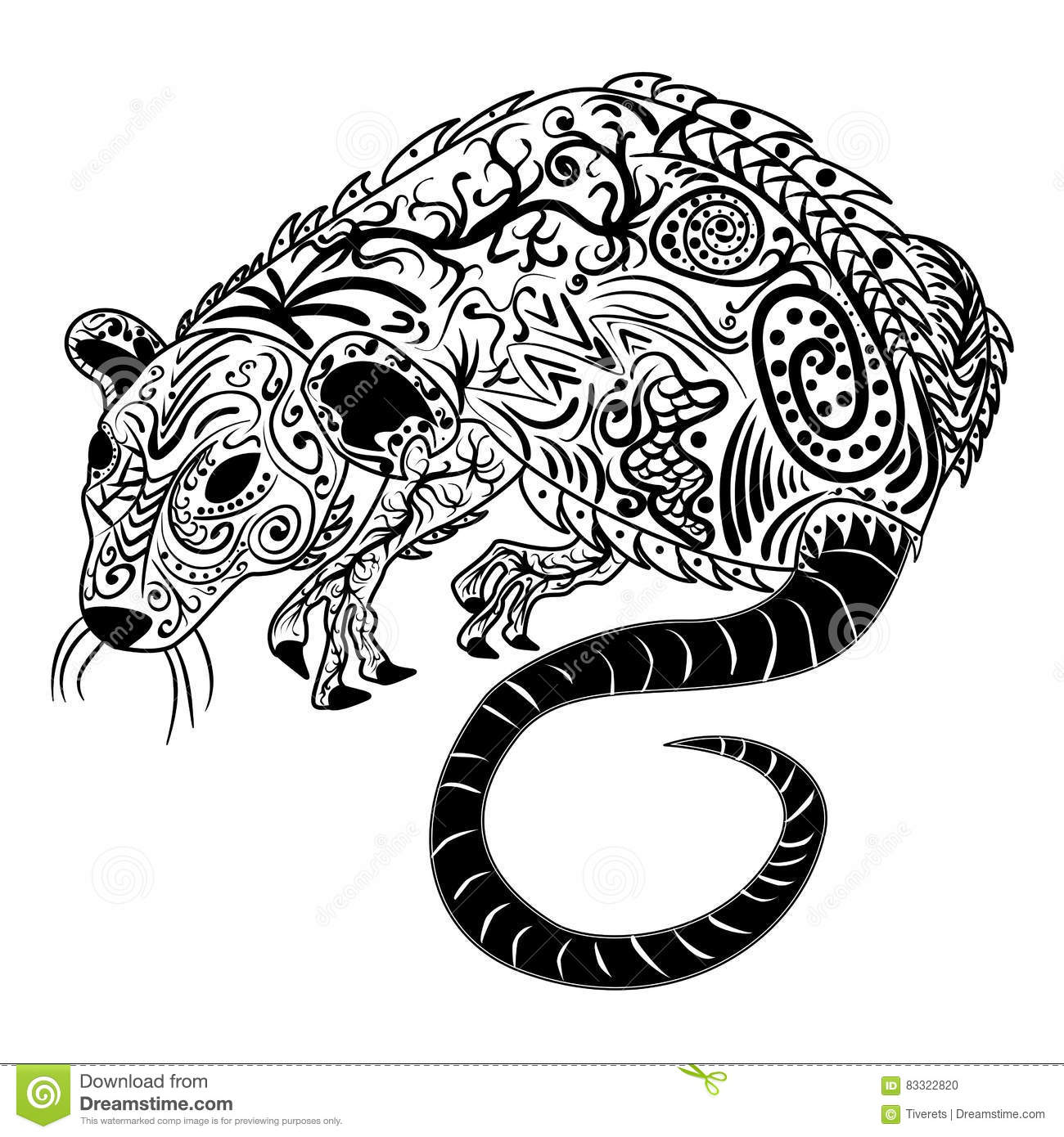 Chinese Zodiac Sign Rat Vector Horoscope Icon Or Symbol